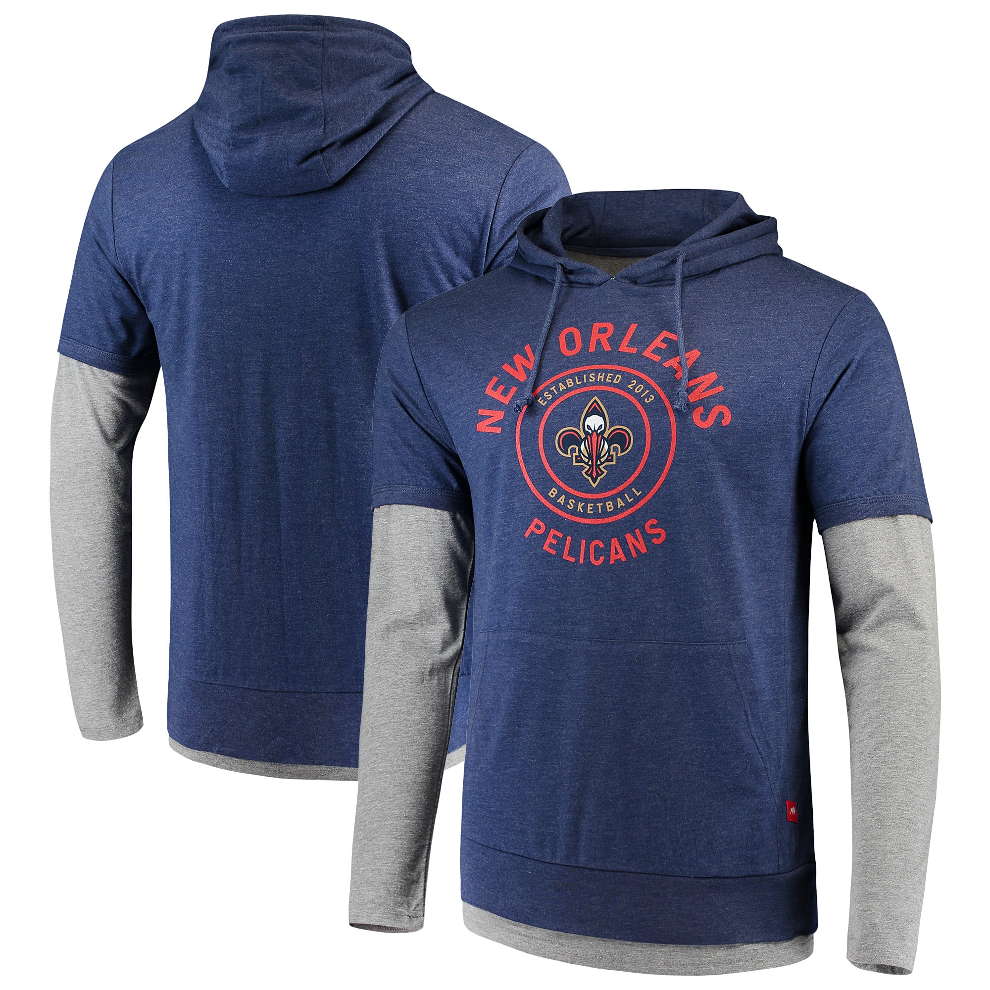New Orleans Pelicans Sportiqe Miller Two-Tone Tri-Blend Pullover Hoodie - Navy