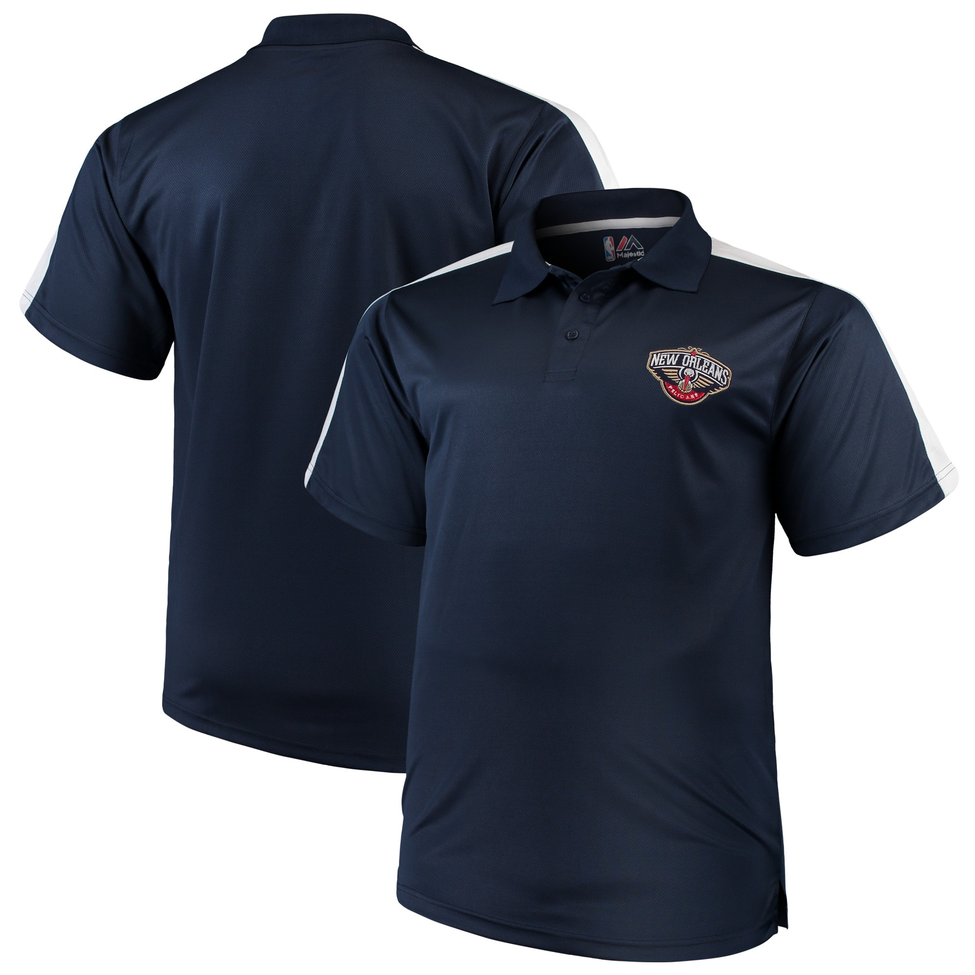 New Orleans Pelicans Majestic Big & Tall Birdseye Polo - Navy/White