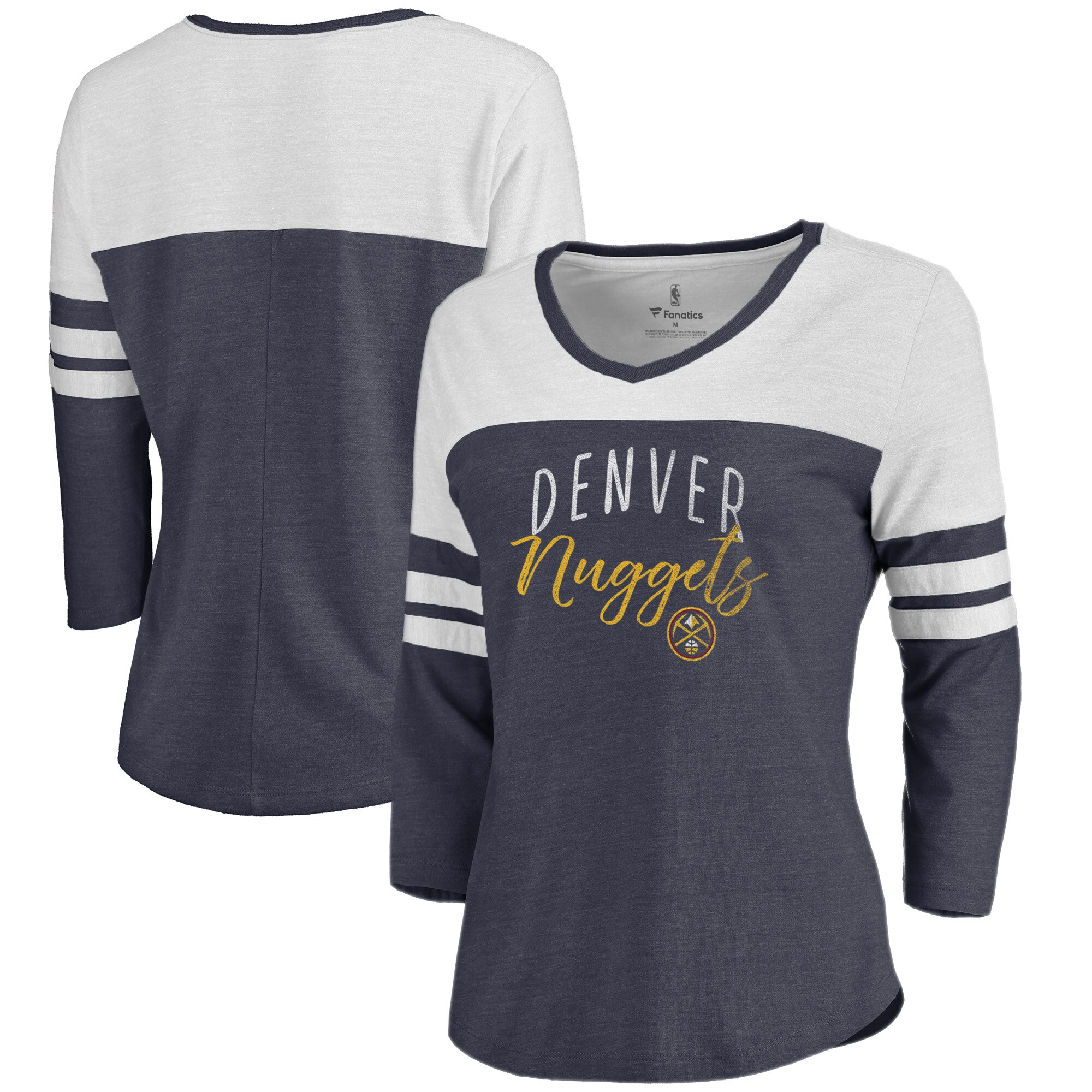 Denver Nuggets Fanatics Branded Women's Graceful Color Block Tri-Blend 3/4-Sleeve Raglan V-Neck T-Shirt - Navy