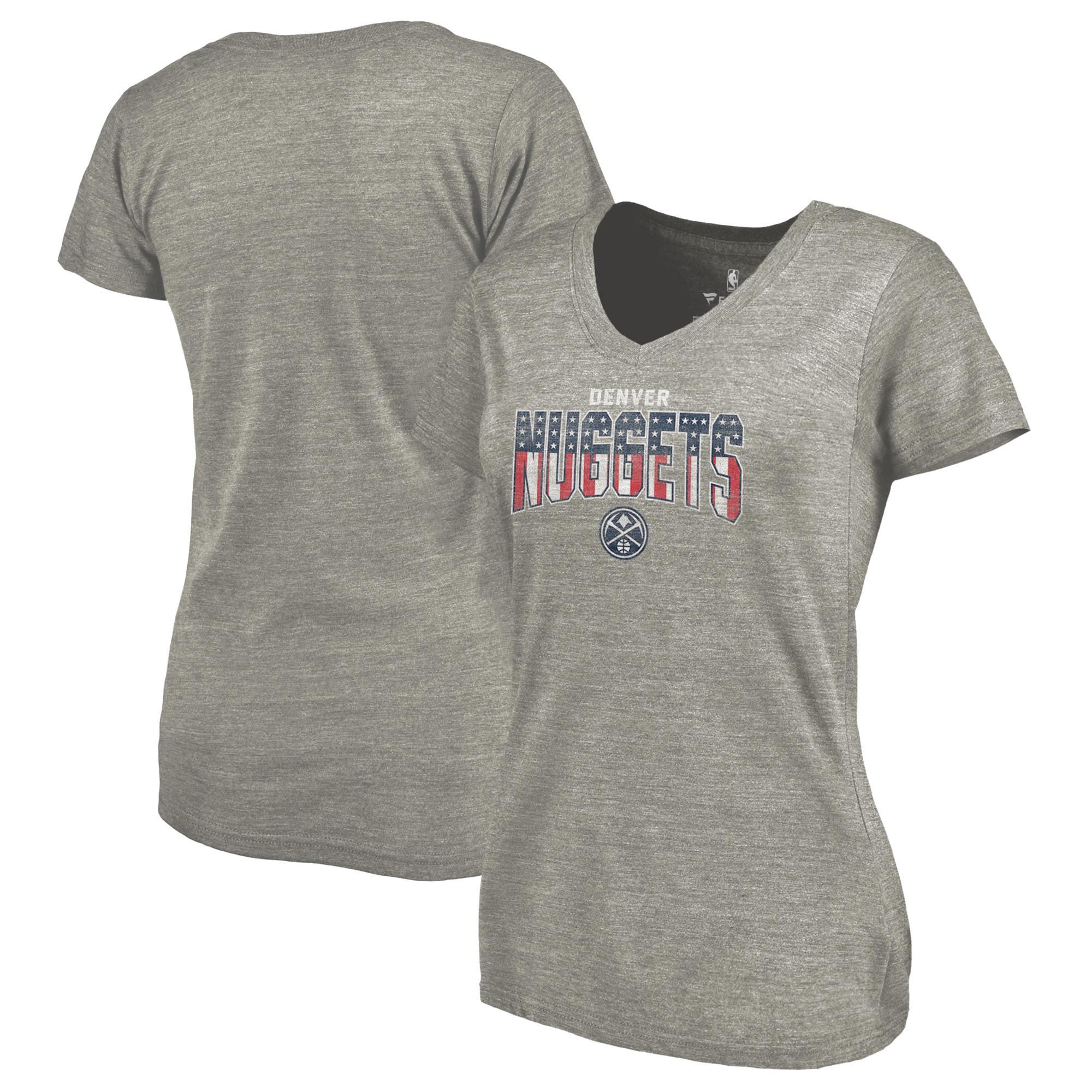 Denver Nuggets Fanatics Branded Women's Freedom Tri-Blend V-Neck T-Shirt - Heather Gray