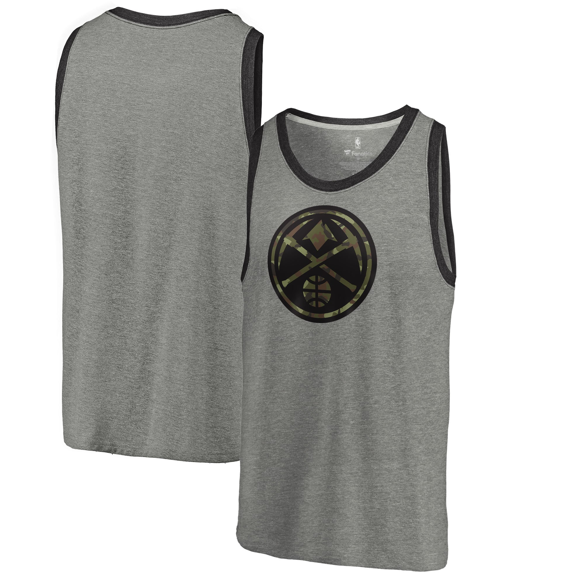 Denver Nuggets Fanatics Branded Camo Collection Prestige Tri-Blend Tank Top - Heather Gray