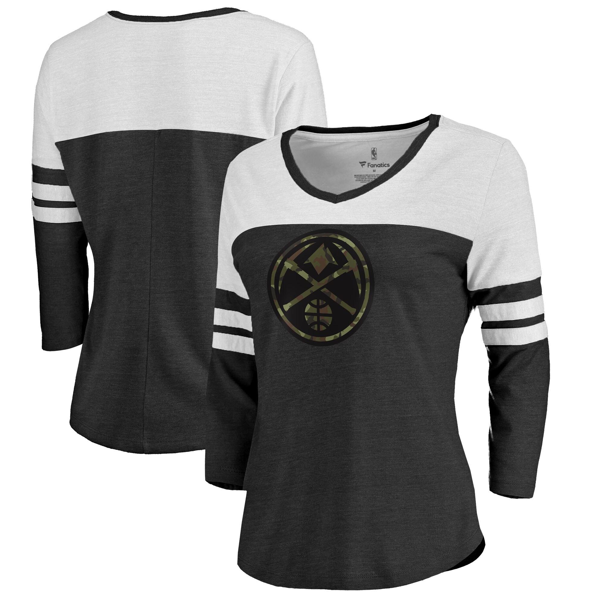 Denver Nuggets Fanatics Branded Women's Prestige Camo Raglan 3/4-Sleeve V-Neck T-Shirt - Black