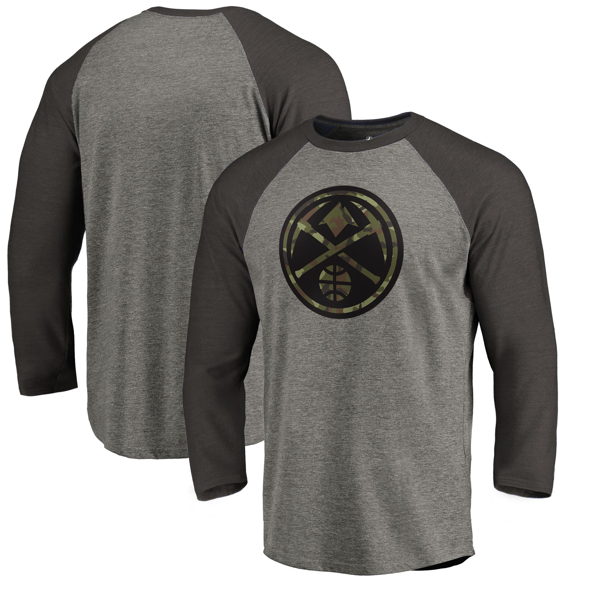 Denver Nuggets Fanatics Branded Camo Collection Prestige Raglan 3/4-Sleeve T-Shirt - Heather Gray