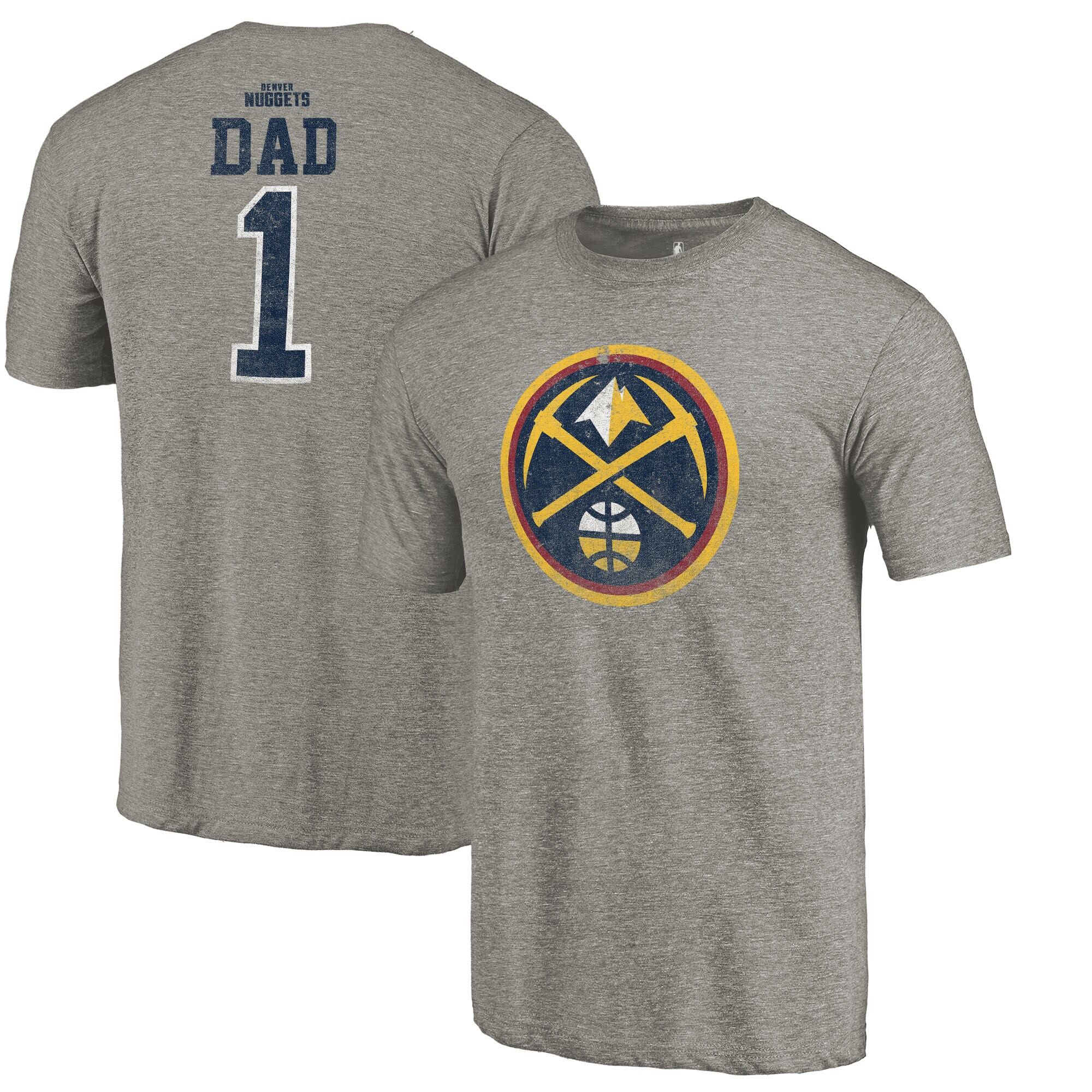 Denver Nuggets Fanatics Branded Greatest Dad Tri-Blend T-Shirt - Gray