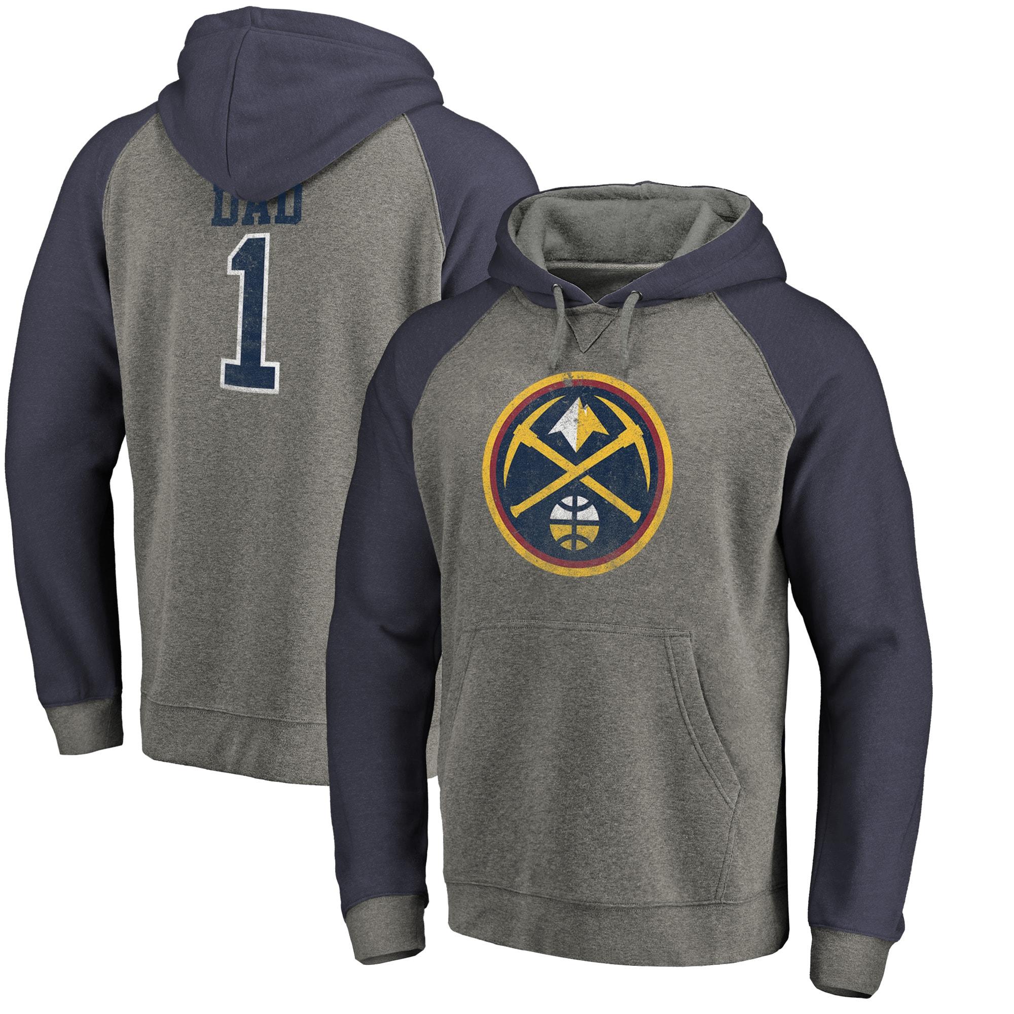 Denver Nuggets Fanatics Branded Greatest Dad Tri-Blend Raglan Pullover Hoodie - Heather Gray