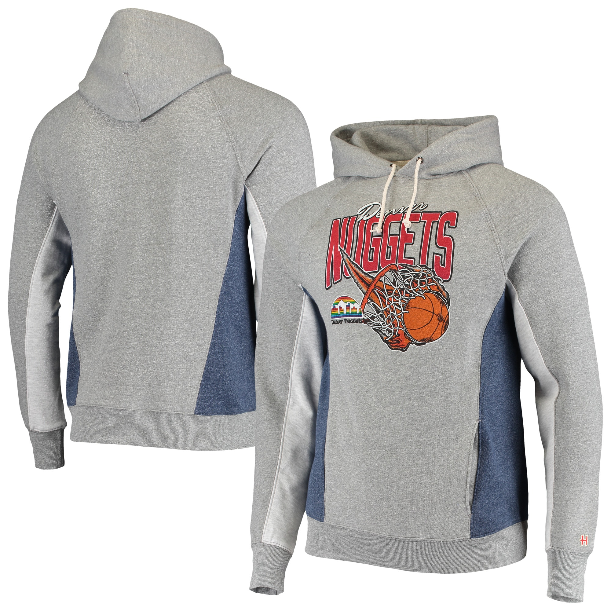 Denver Nuggets Homage On Fire Tri-Blend Pullover Hoodie - Gray/Navy