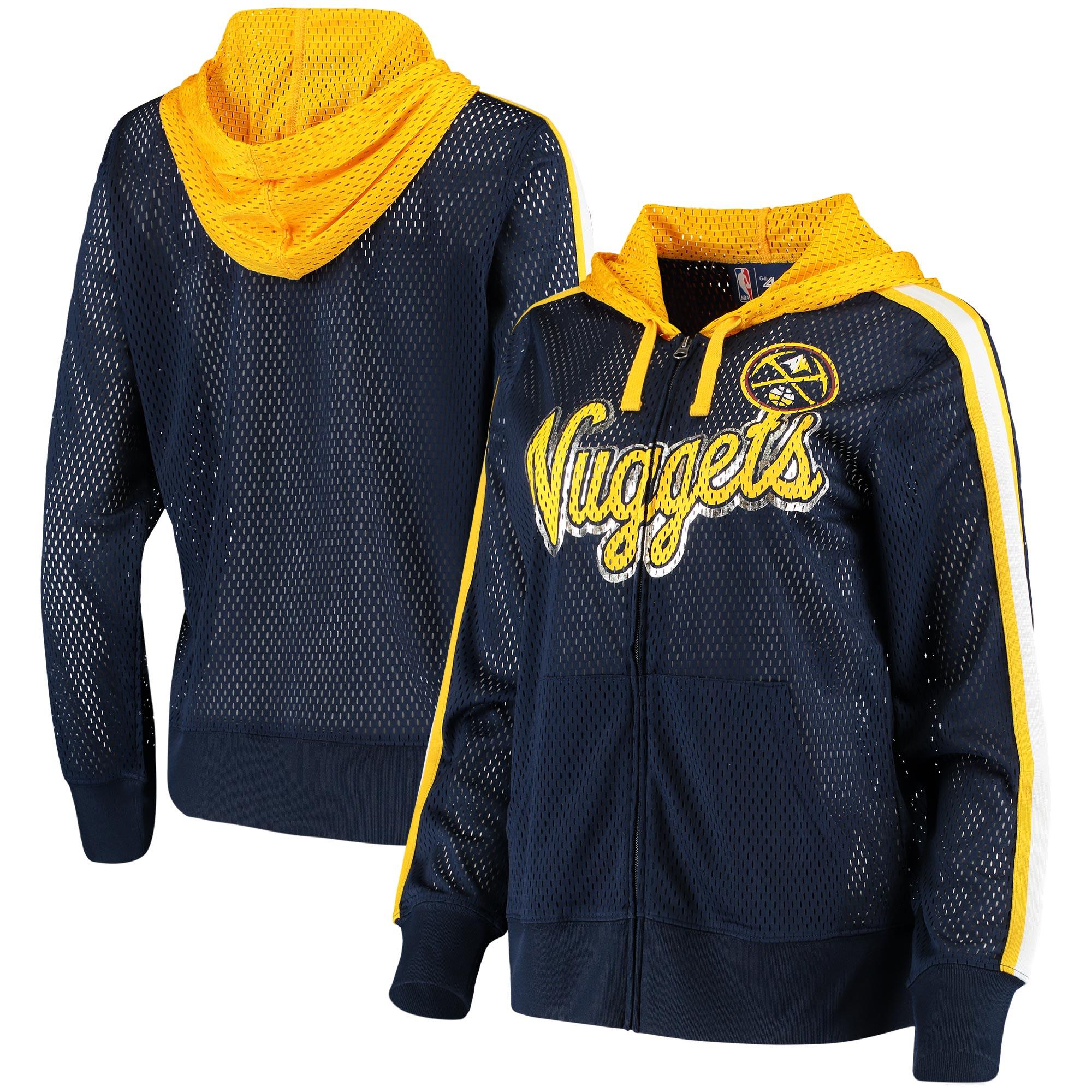 Denver Nuggets G-III 4Her by Carl Banks Women's Top of the Key Foil Mesh Full-Zip Hoodie - Navy/Gold
