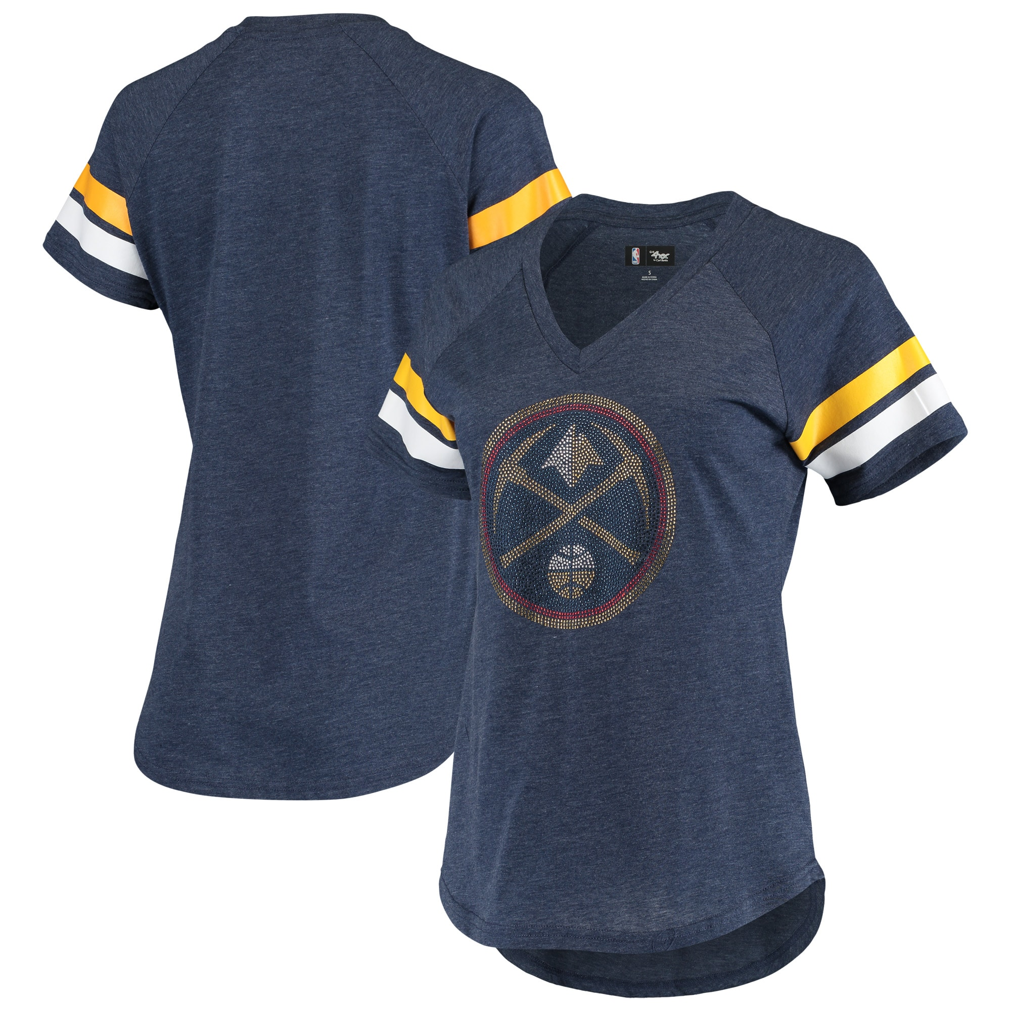 Denver Nuggets G-III 4Her by Carl Banks Women's Triple Double Rhinestone Tri-Blend V-Neck T-Shirt - Navy