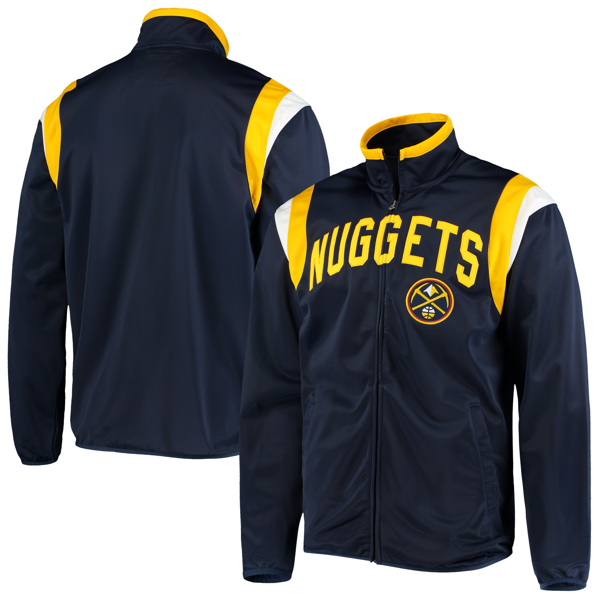 Denver Nuggets G-III Sports by Carl Banks Post Up Tricot Full-Zip Track Jacket - Navy