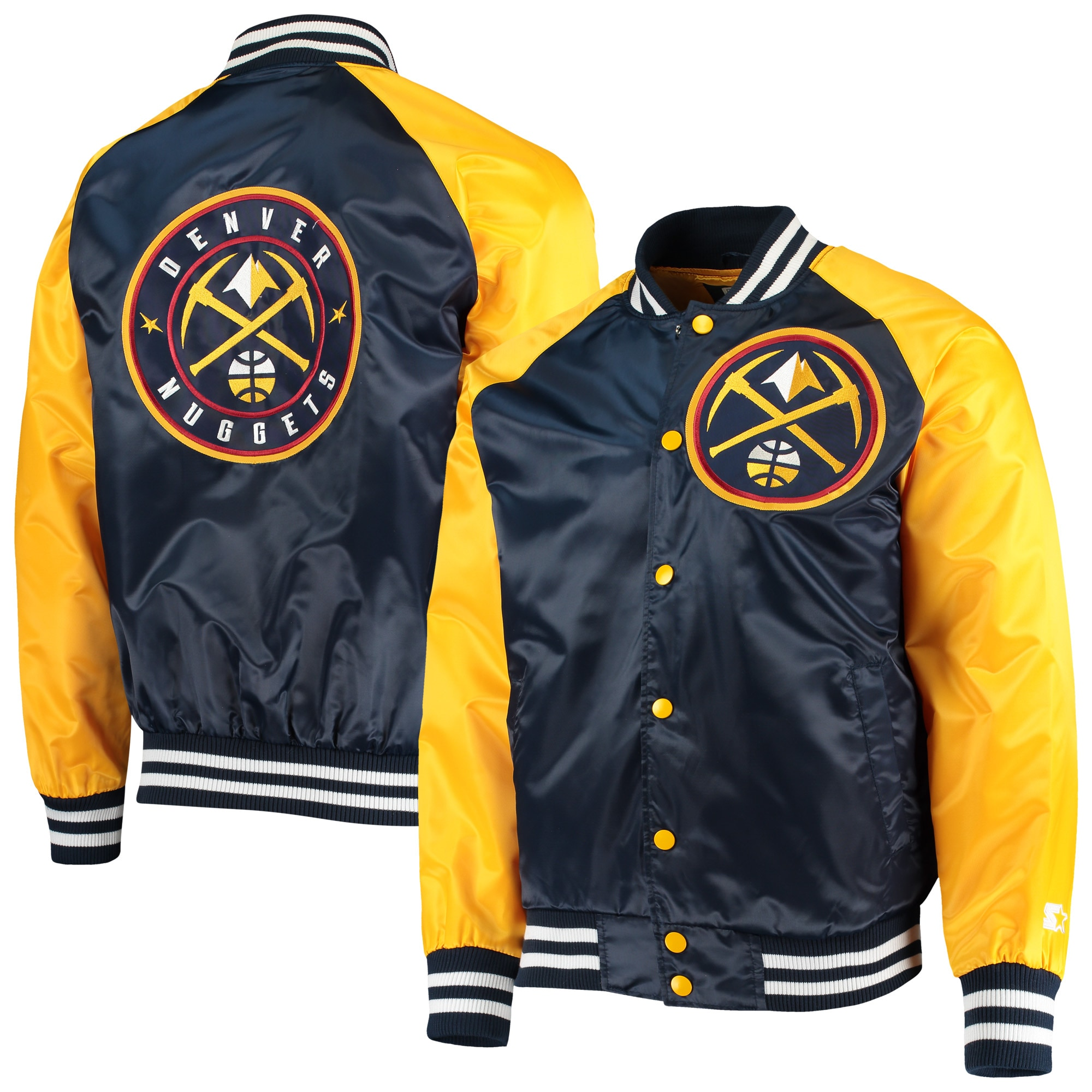 Denver Nuggets Starter Point Guard Satin Full-Snap Jacket - Navy/Gold