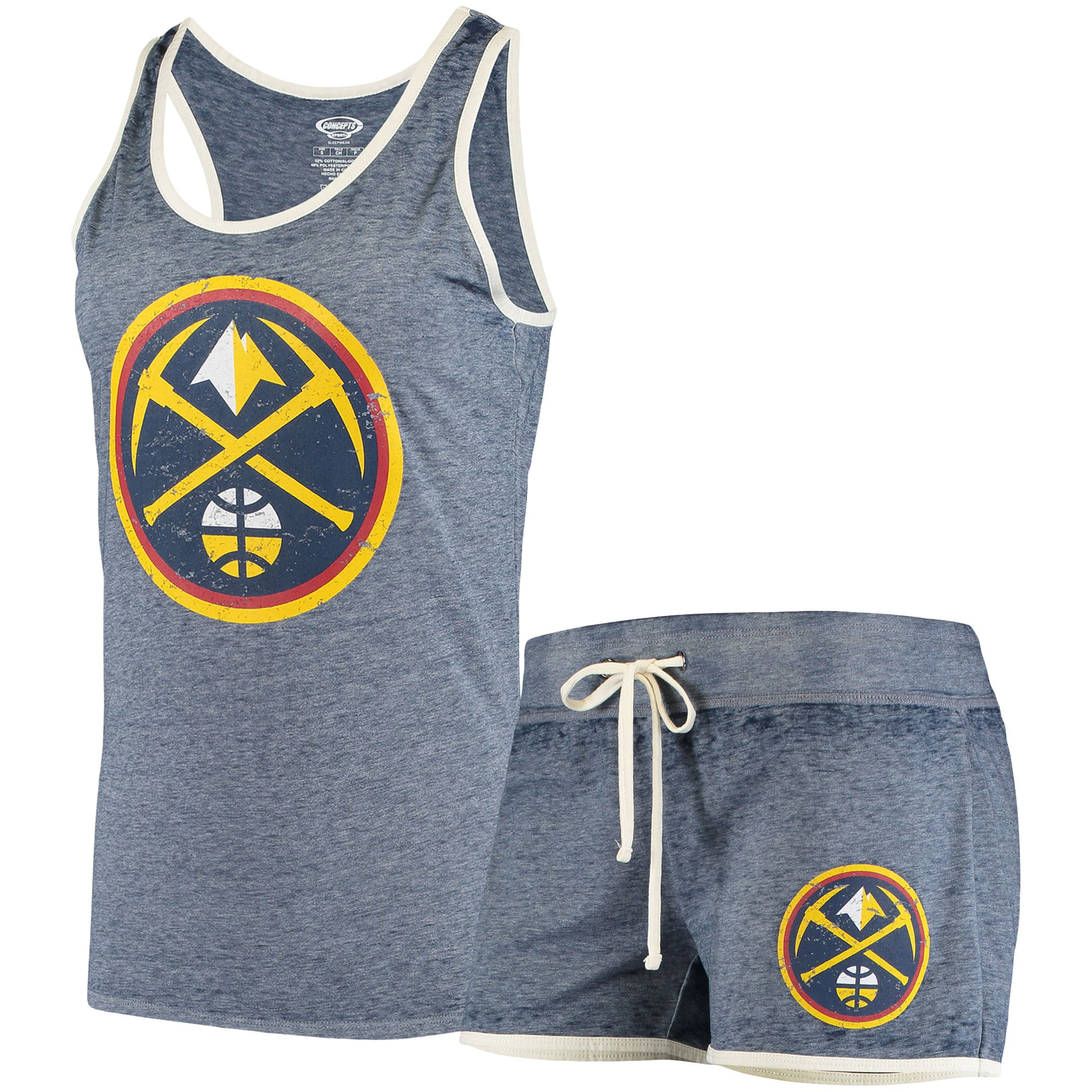 Denver Nuggets Concepts Sport Women's Loyalty Tank and Shorts Sleep Set - Heathered Navy