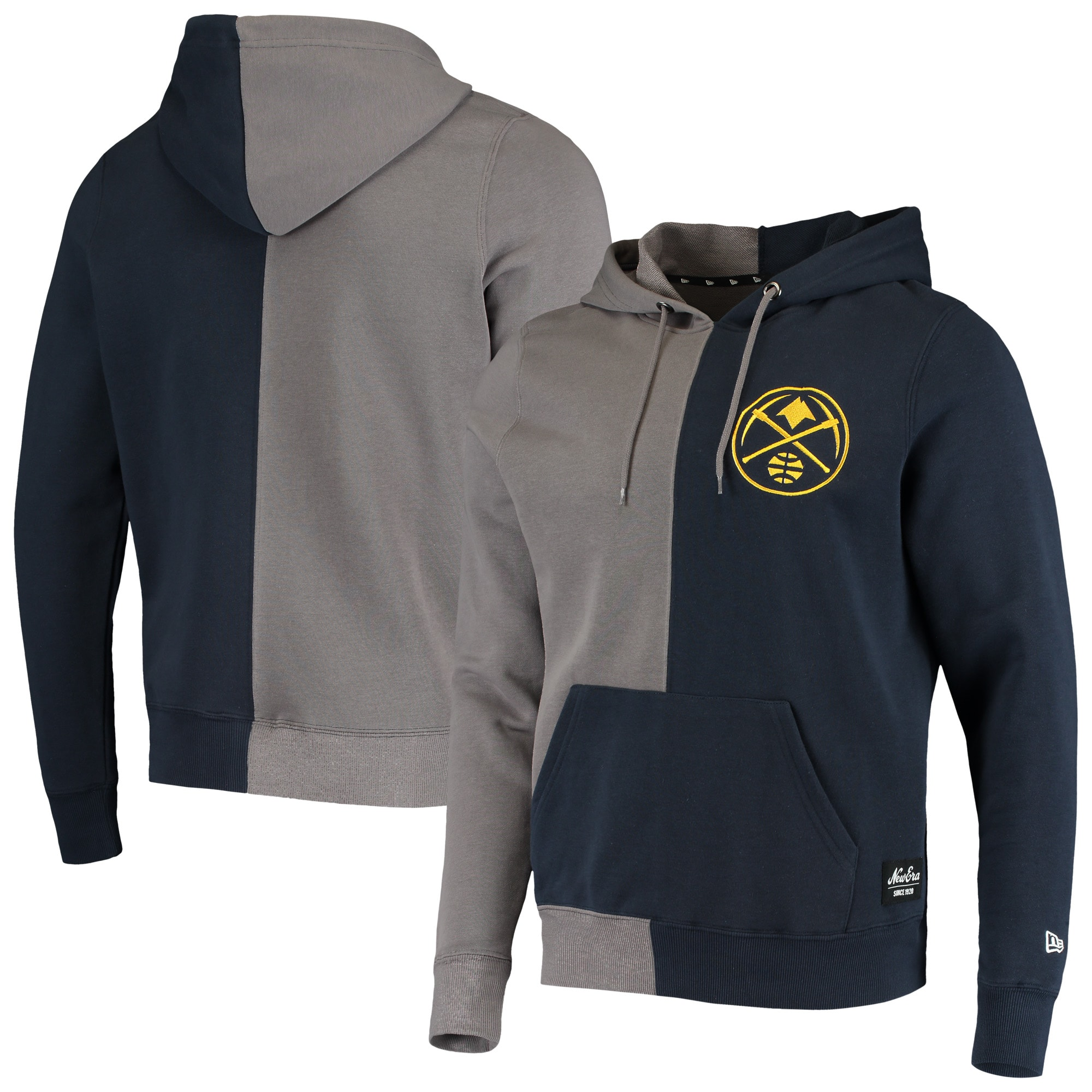 Denver Nuggets New Era Diagonal French Terry Color Block Pullover Hoodie - Gray/Navy