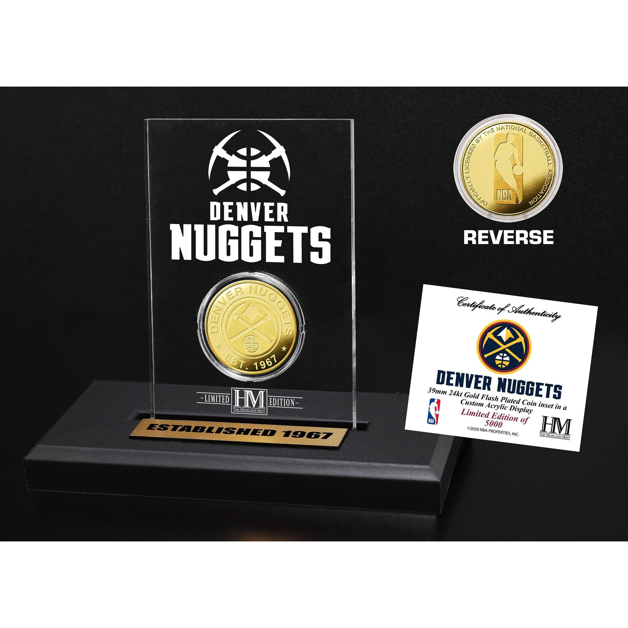 Denver Nuggets Highland Mint Gold Coin Acrylic Desk Top Display