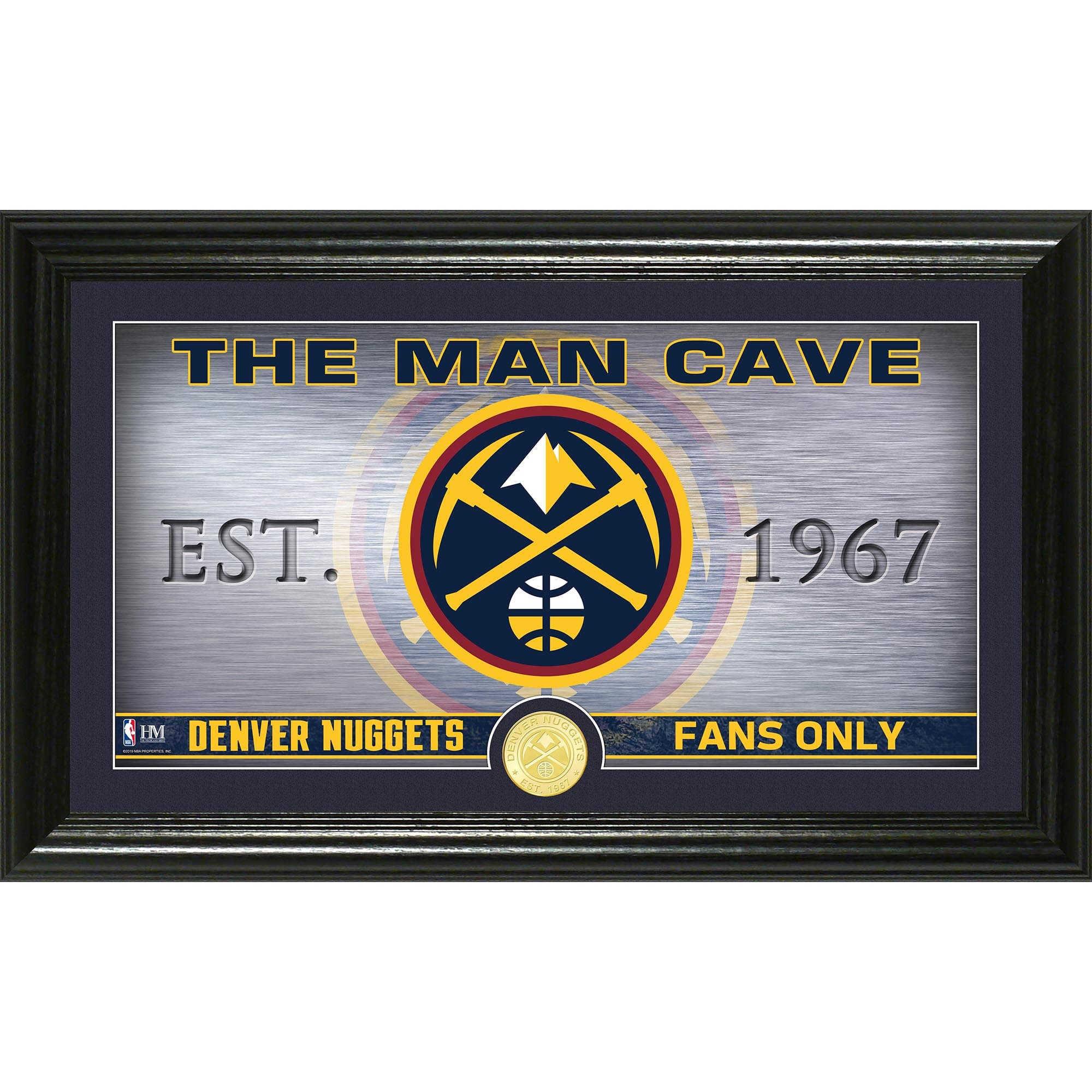 Denver Nuggets Highland Mint Man Cave Bronze Coin Panoramic Photo Mint