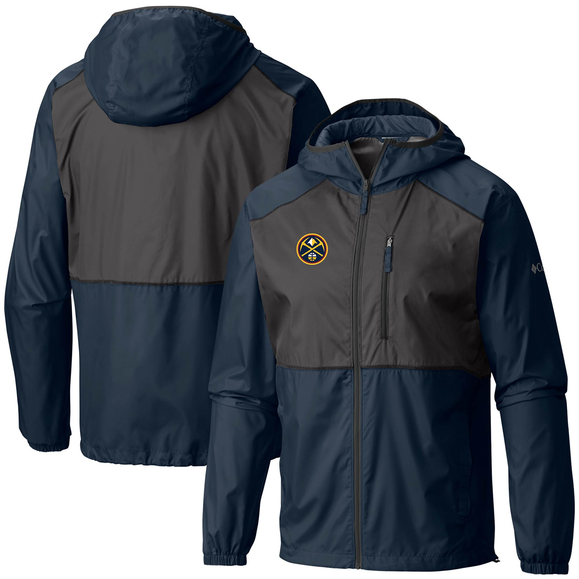 Denver Nuggets Columbia Flash Forward Full-Zip Windbreaker Jacket - Navy