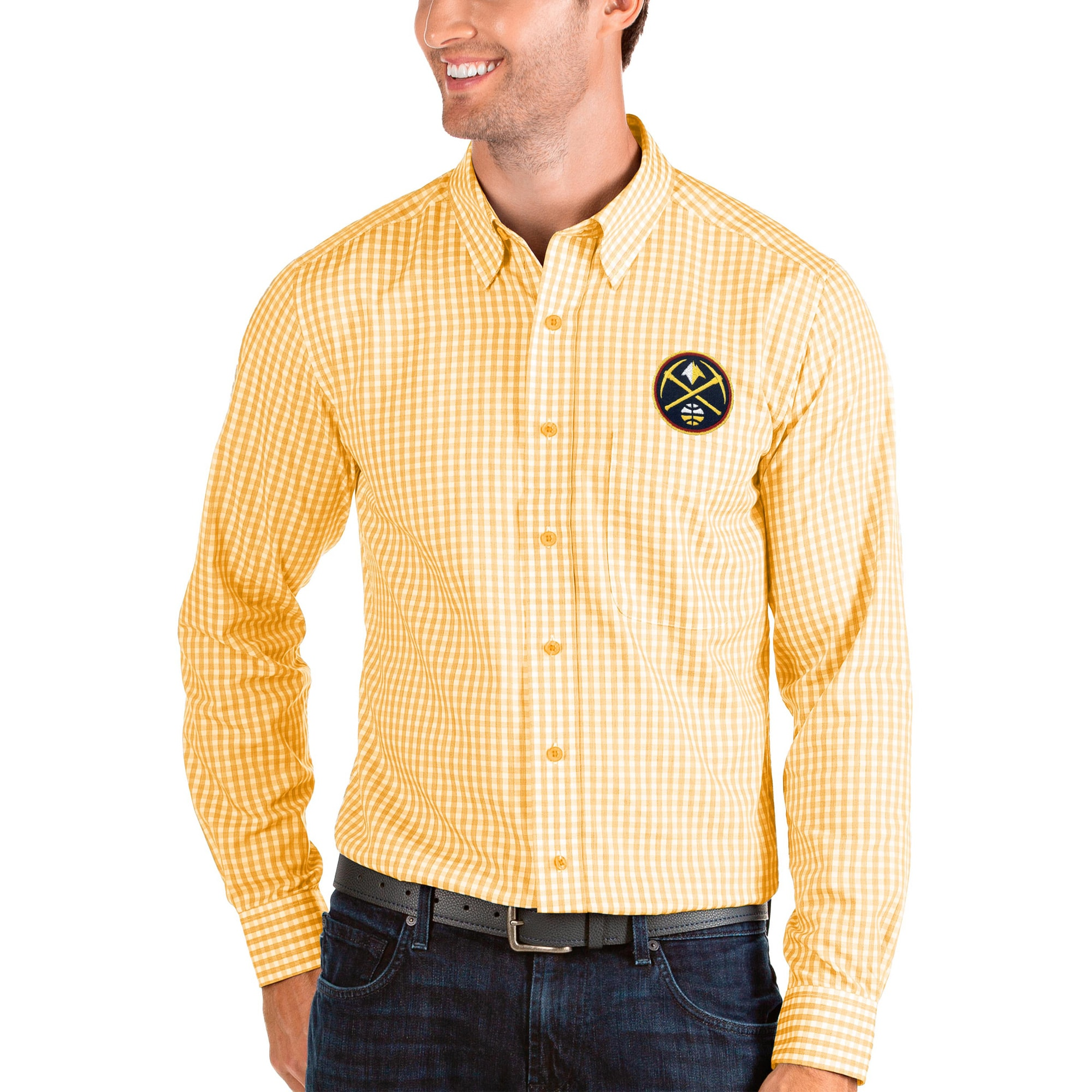 Denver Nuggets Antigua Structure Long Sleeve Button-Up Shirt - Gold/White