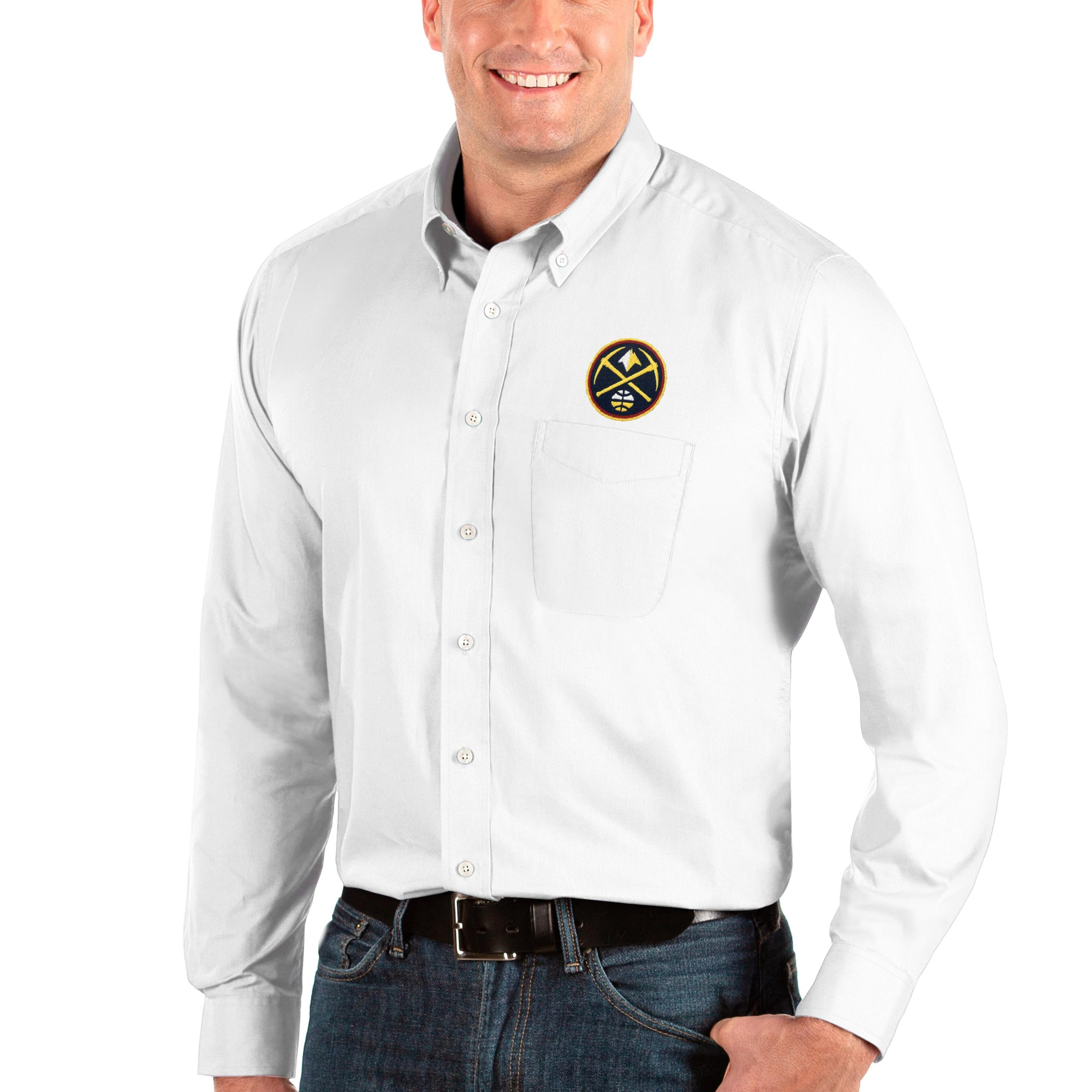 Denver Nuggets Antigua Big & Tall Dynasty Long Sleeve Button-Down Shirt - White