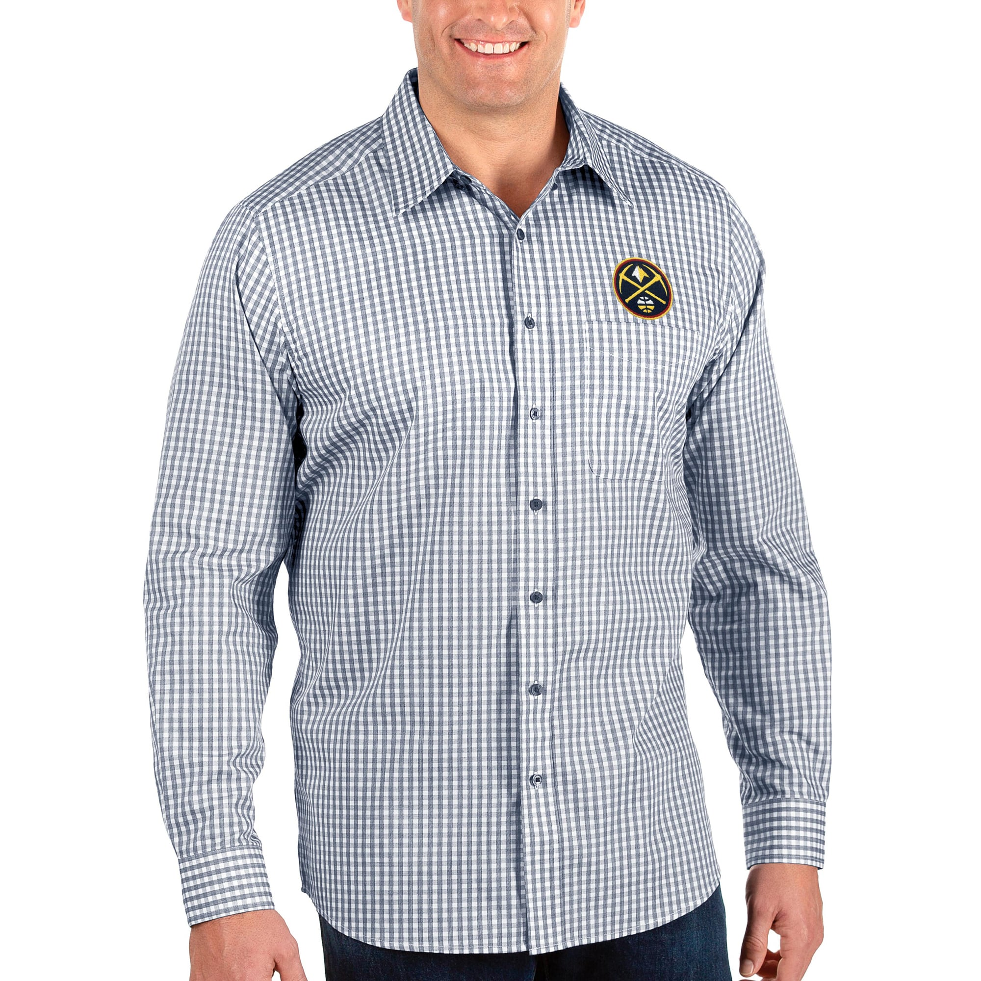 Denver Nuggets Antigua Big & Tall Structure Long Sleeve Button-Up Shirt - Navy/White