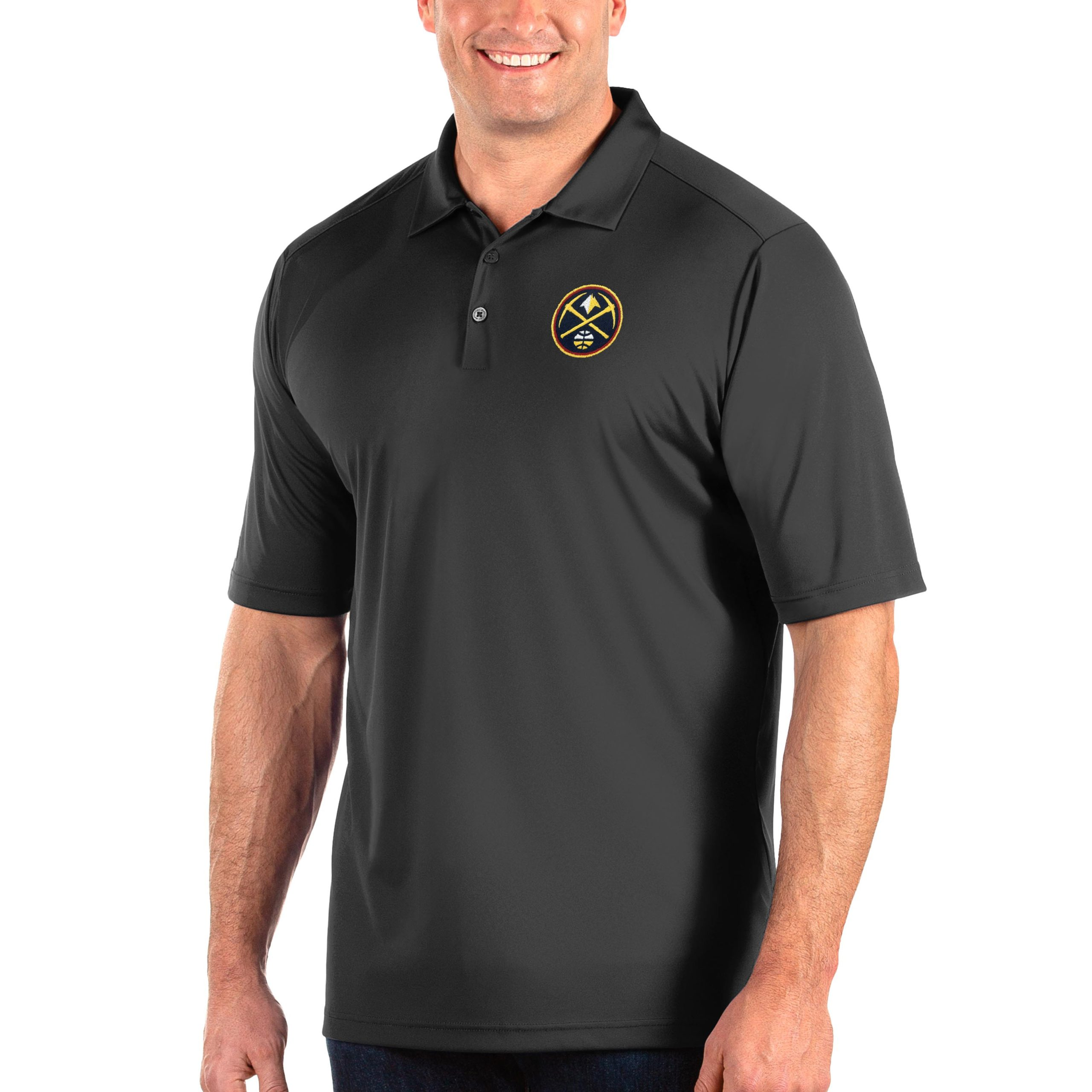 Denver Nuggets Antigua Big & Tall Tribute Polo - Charcoal