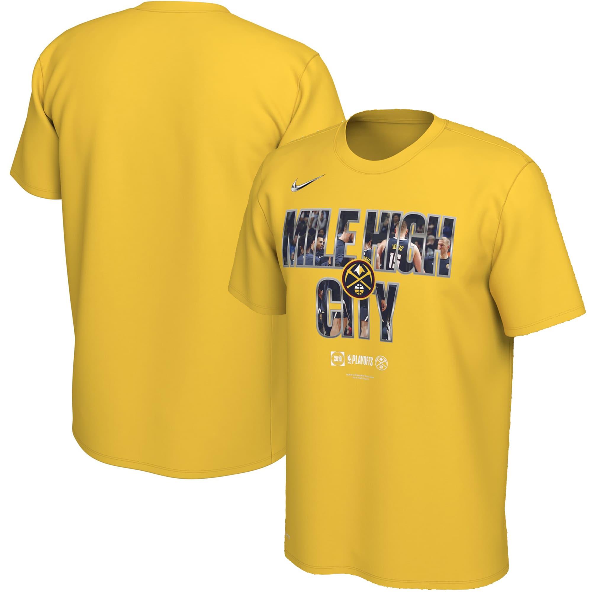 Denver Nuggets Nike 2019 NBA Playoffs Bound City DNA Dri-FIT T-Shirt - Gold