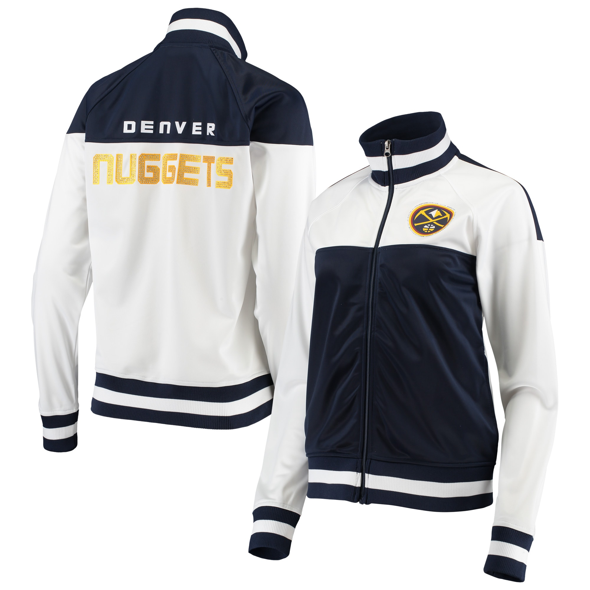 Denver Nuggets G-III 4Her by Carl Banks Women's Tip Off Rhinestone Tricot Full-Zip Track Jacket - White/Navy