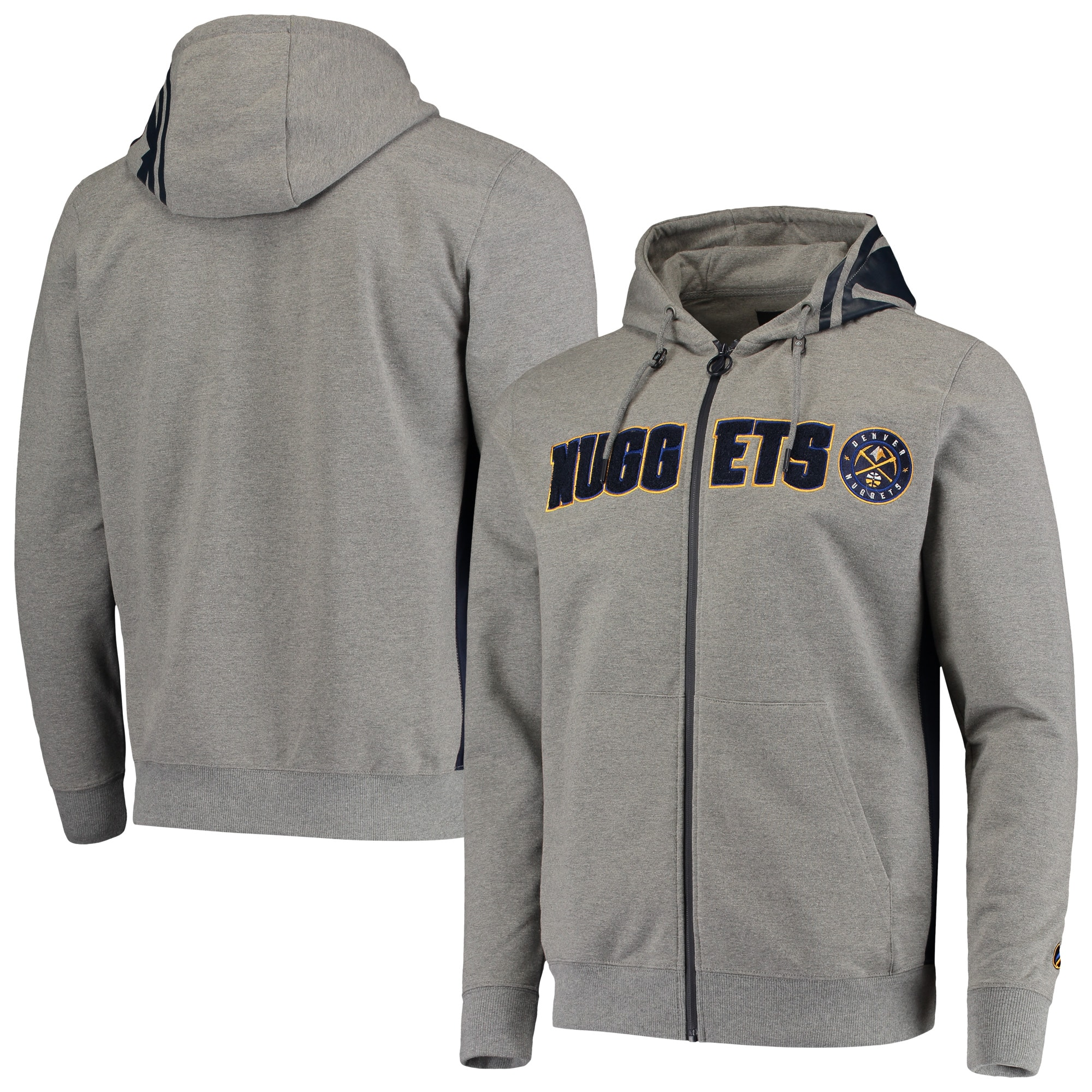 Denver Nuggets Core Chenille French Terry Tri-Blend Full-Zip Hoodie - Gray