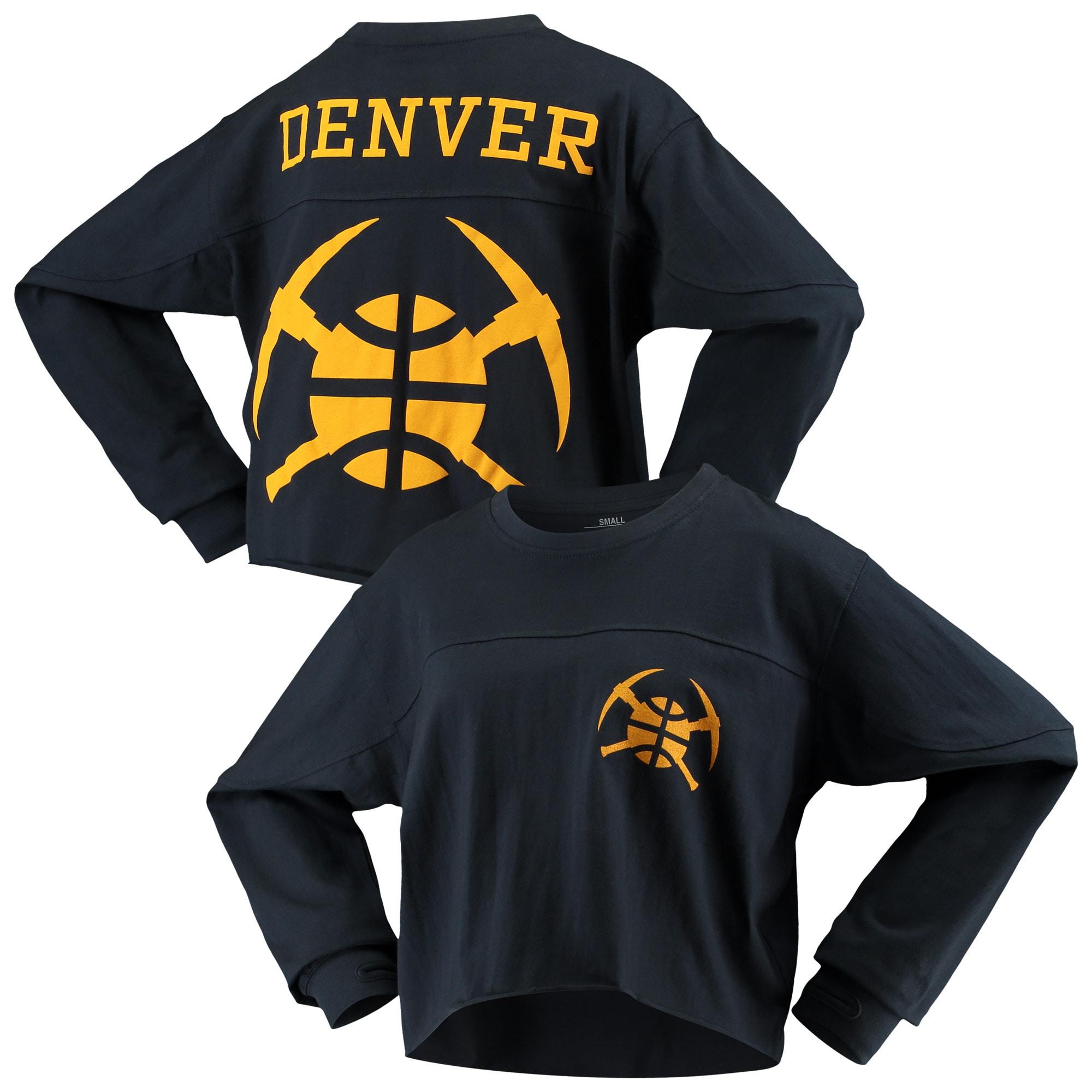 Denver Nuggets G-III Sports by Carl Banks Women's Pressbox Oversized Raw Edge Long Sleeve T-Shirt - Navy