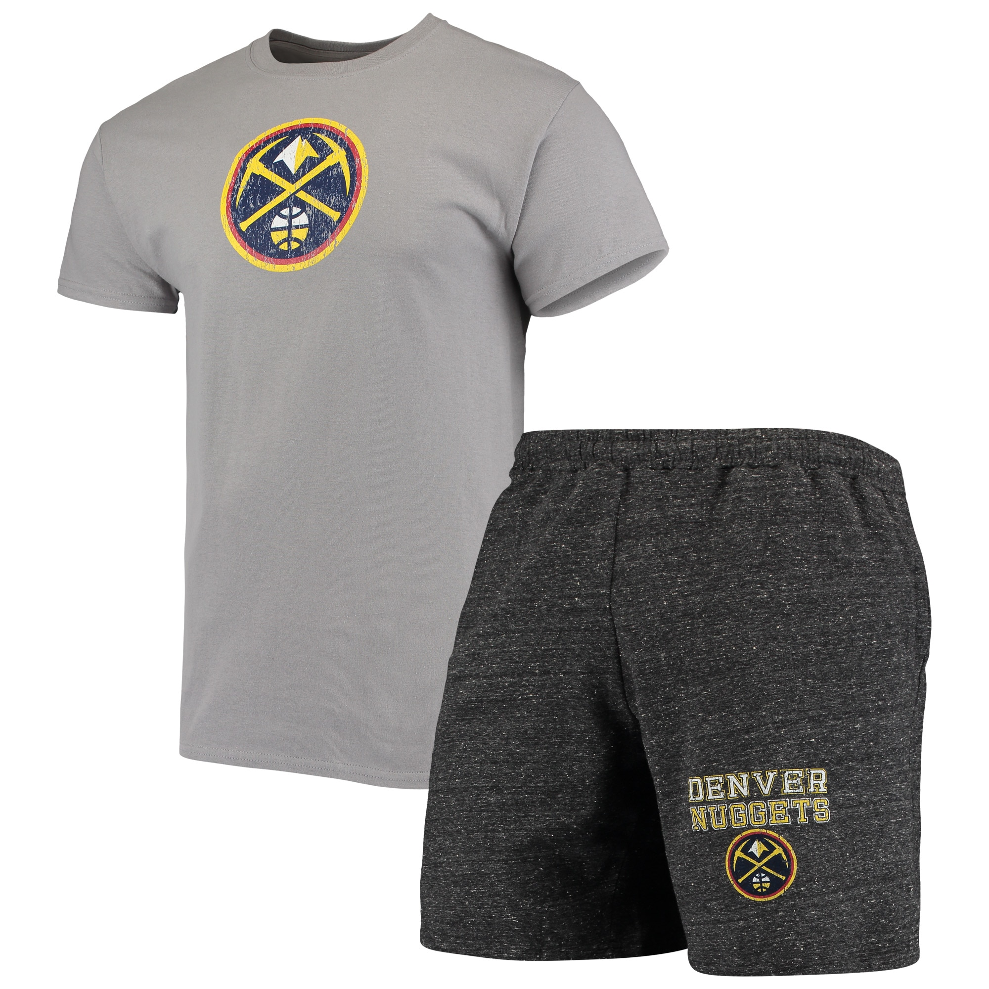 Denver Nuggets Concepts Sport Pitch T-Shirt & Shorts Set - Gray/Charcoal