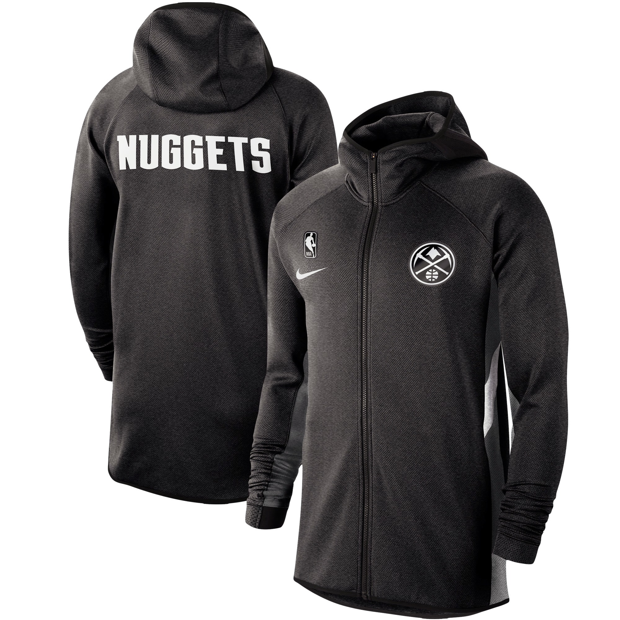 Denver Nuggets Nike Authentic Showtime Therma Flex Performance Full-Zip Hoodie - Heathered Black