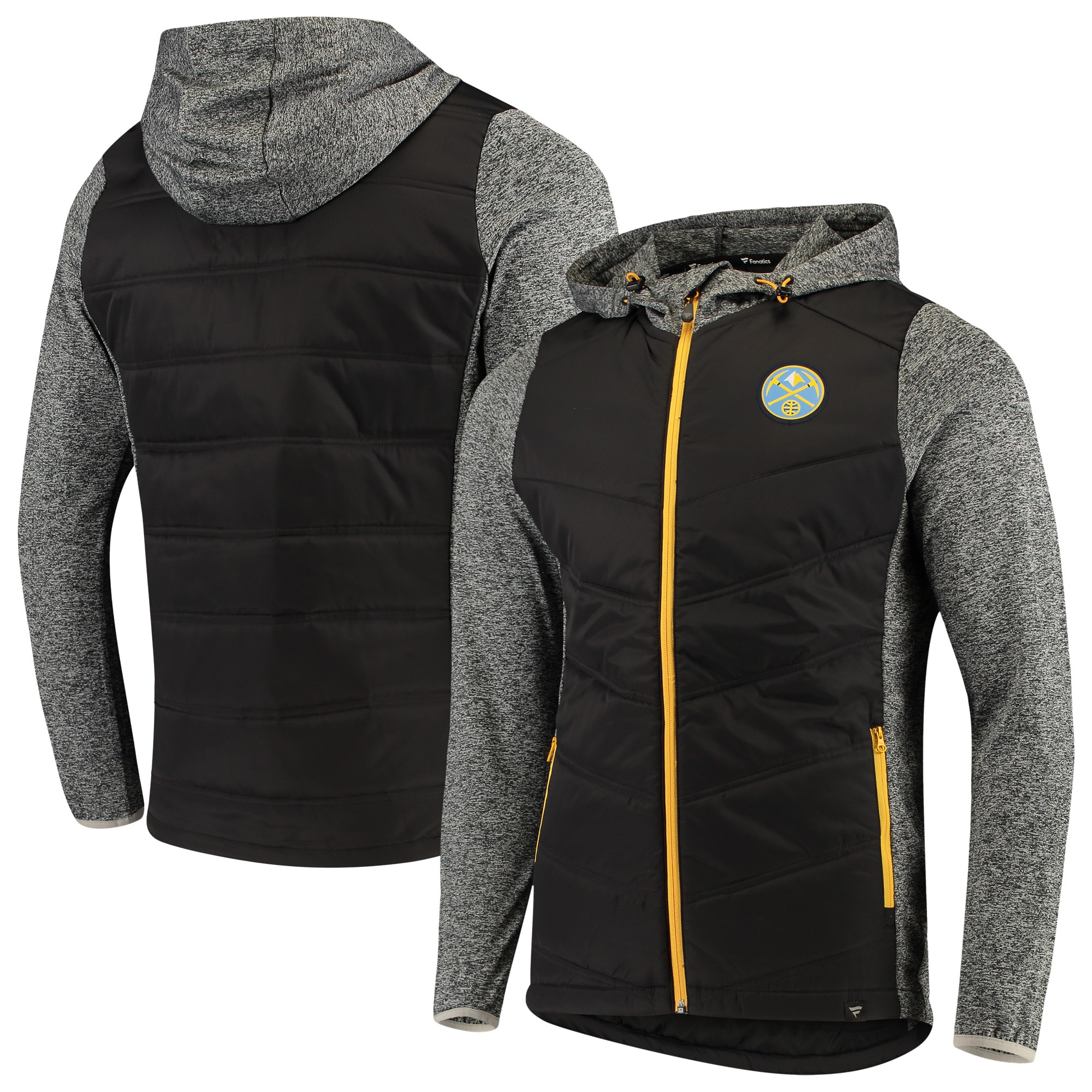 Denver Nuggets Fanatics Branded Static Insulated Full-Zip Jacket - Black/Heathered Gray
