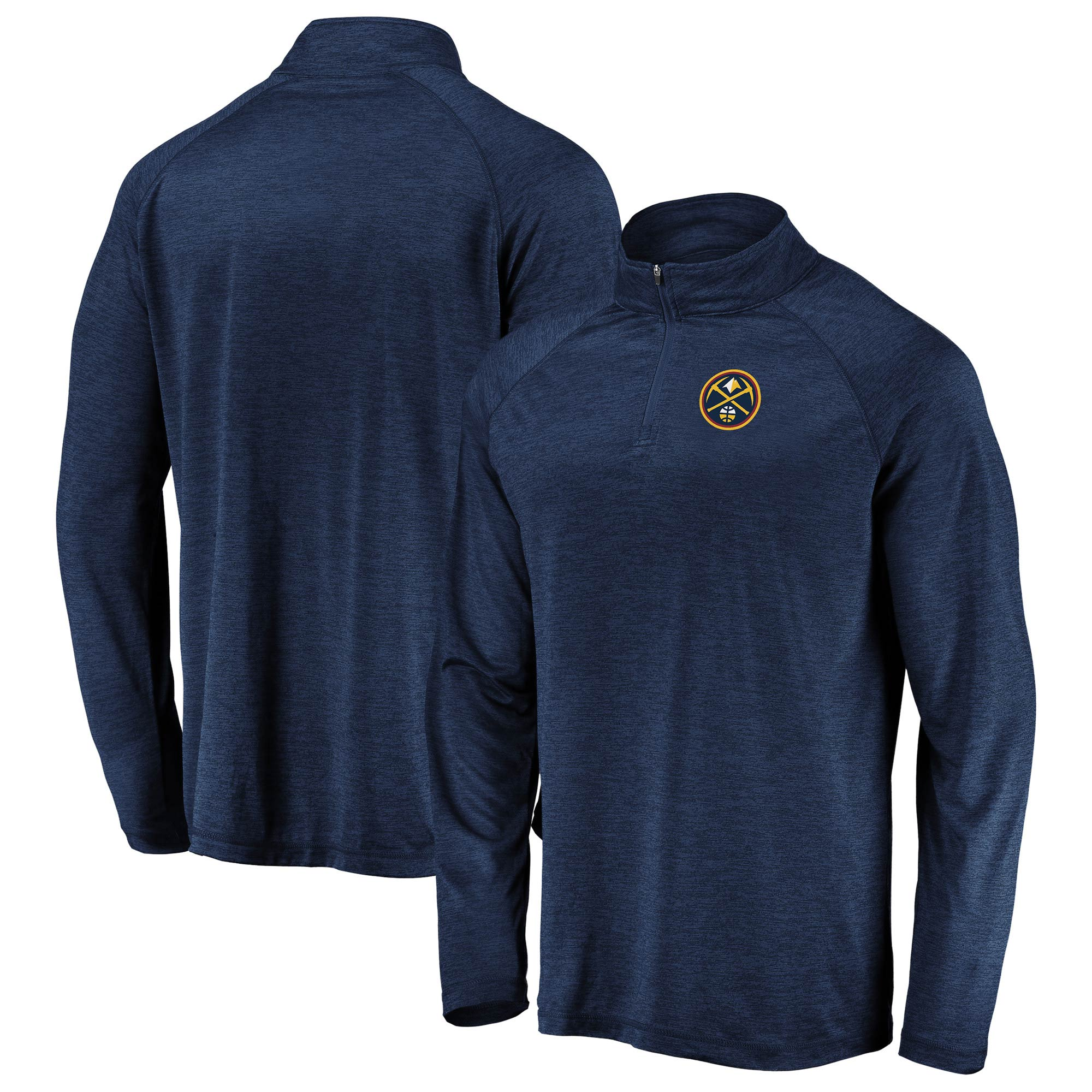 Denver Nuggets Fanatics Branded Iconic Striated Raglan Quarter-Zip Pullover Jacket - Navy