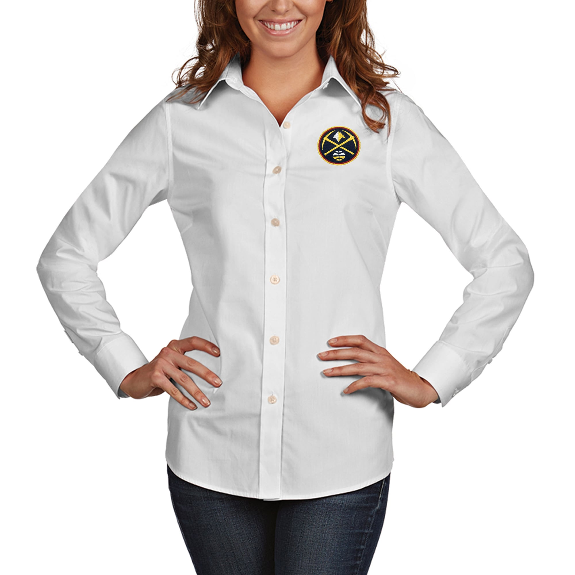 Denver Nuggets Antigua Women's Dynasty Woven Button-Up Long Sleeve Shirt - White