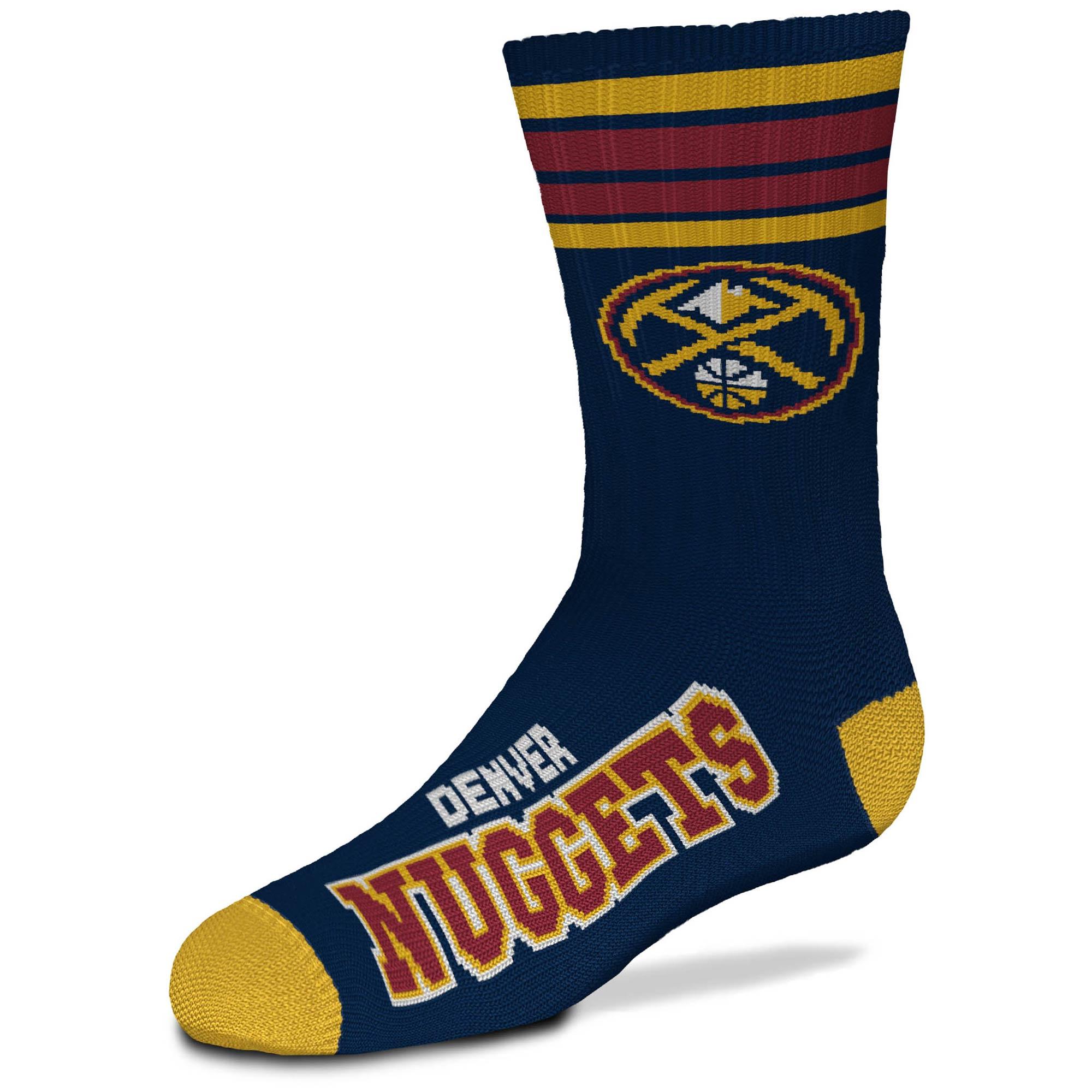 Denver Nuggets For Bare Feet Youth 4-Stripe Deuce Crew Socks