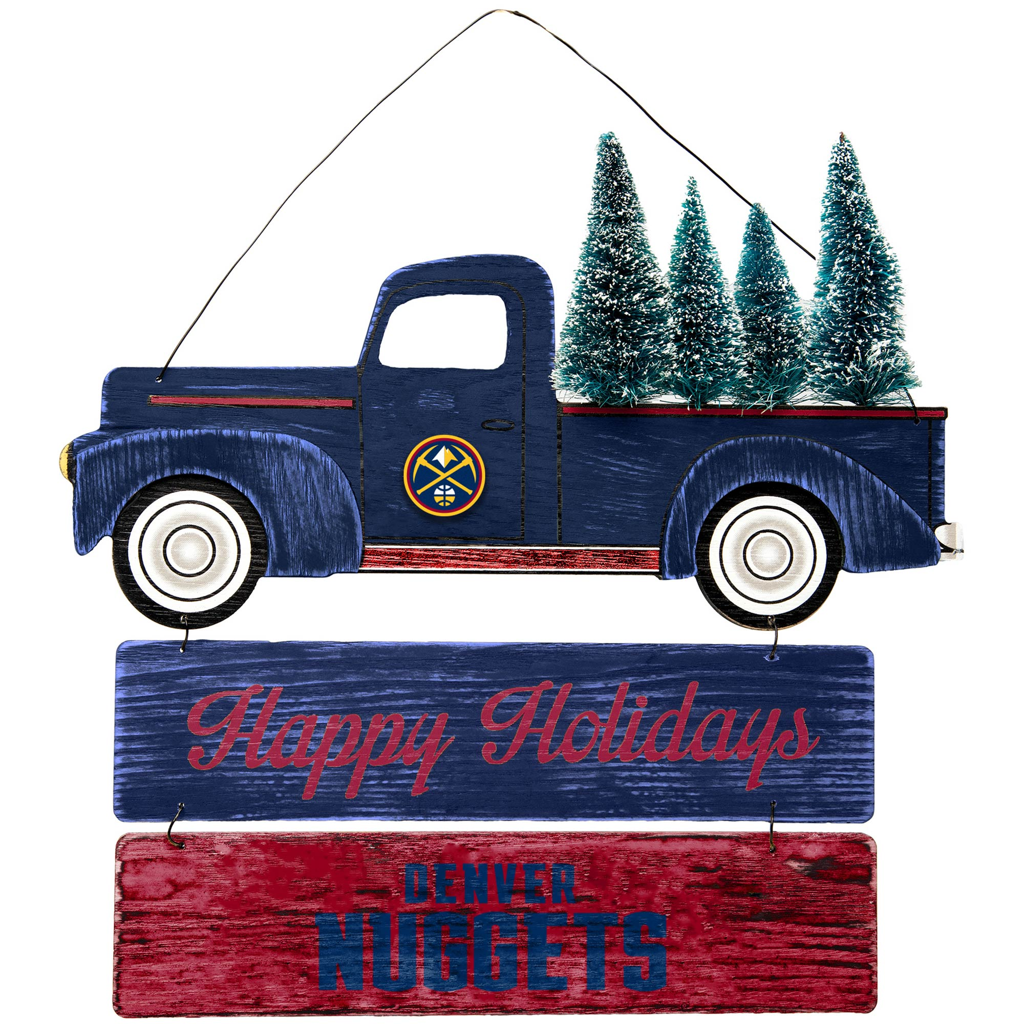 Denver Nuggets Truck and Tree Wooden Sign