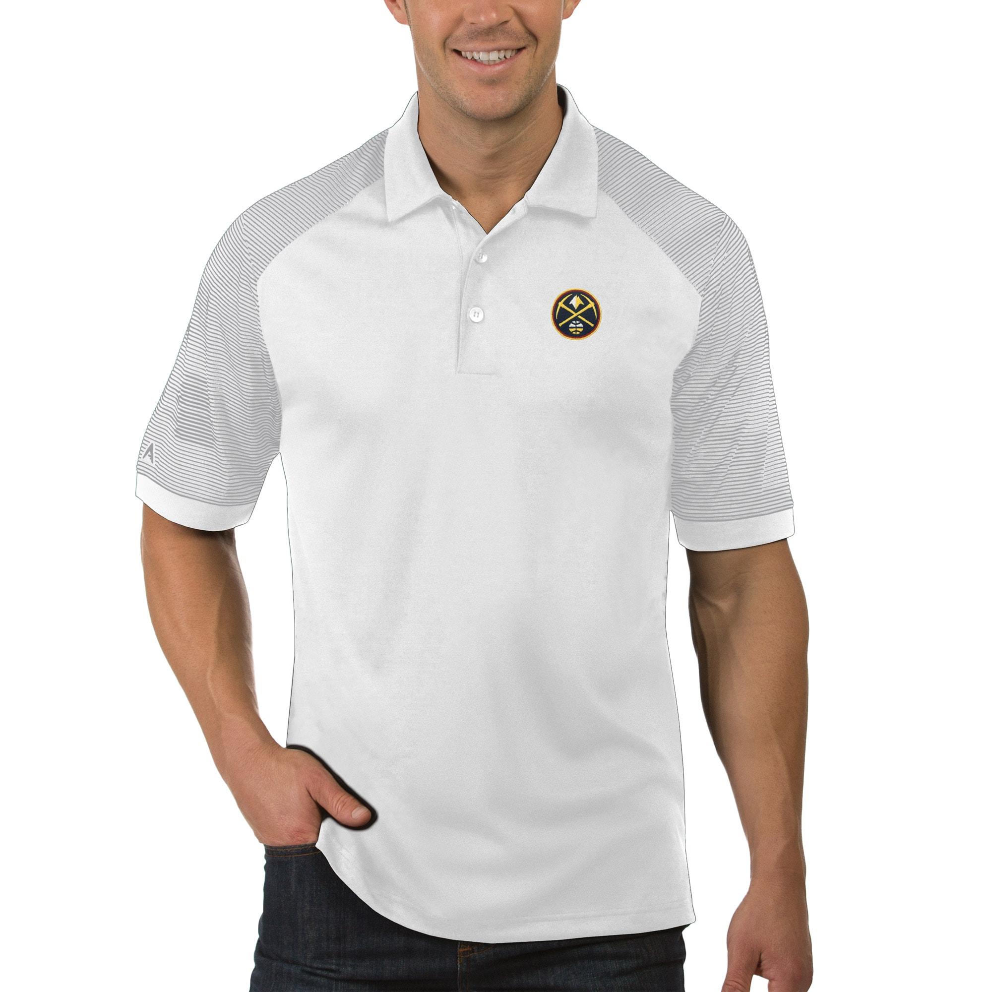 Denver Nuggets Antigua Engage Polo - White