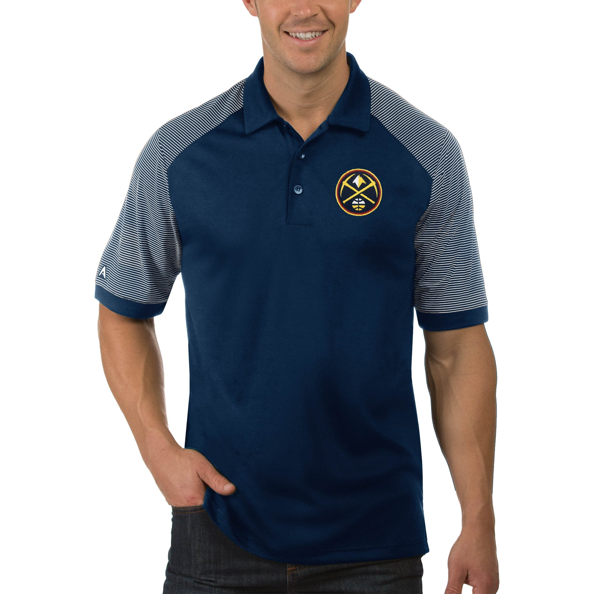 Denver Nuggets Antigua Engage Big & Tall Polo - Navy