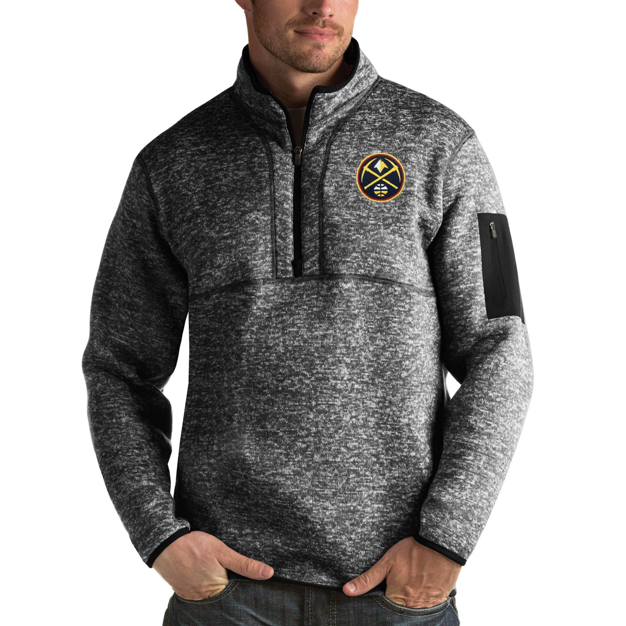 Denver Nuggets Antigua Fortune Big & Tall Quarter-Zip Pullover Jacket - Heather Black