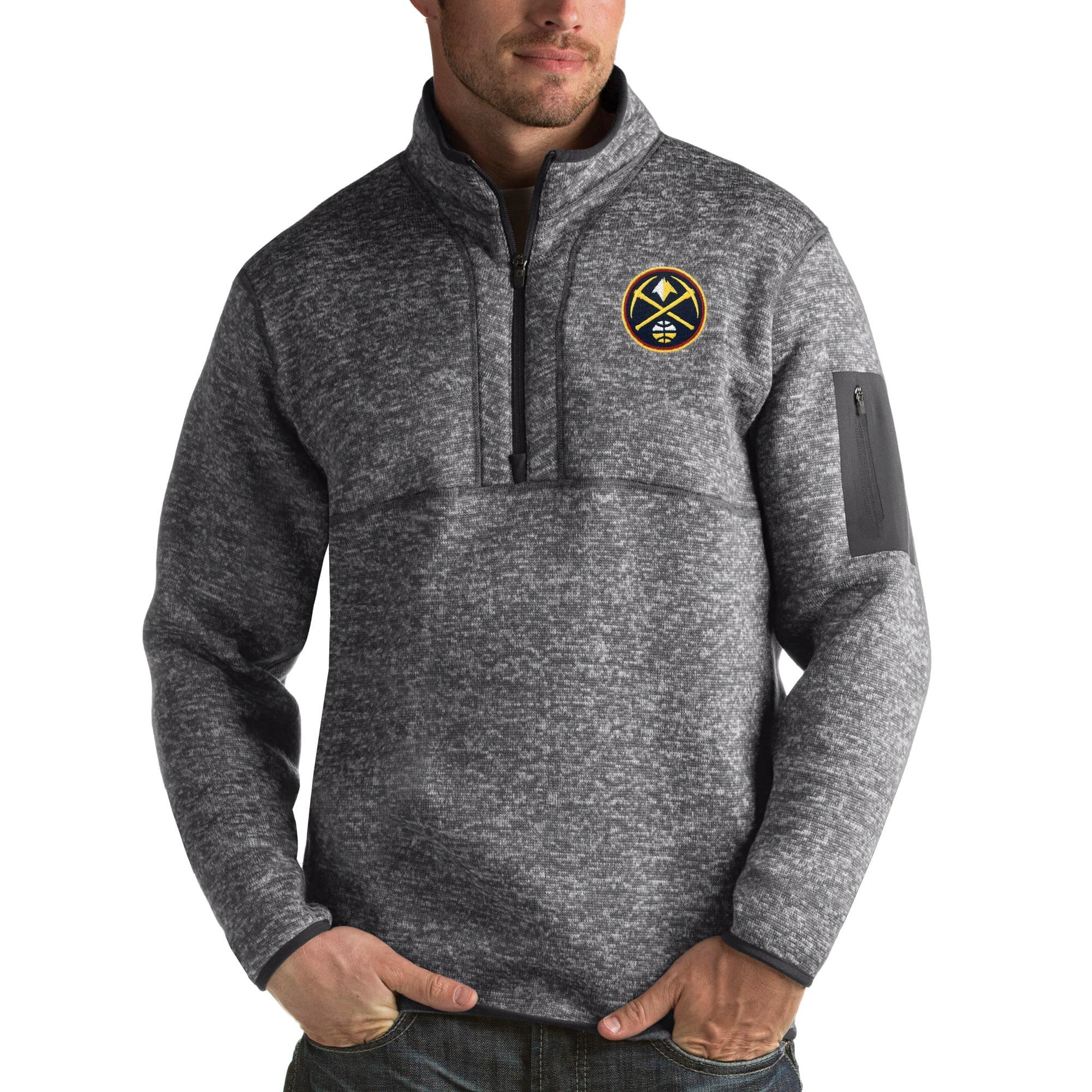 Denver Nuggets Antigua Fortune Big & Tall Quarter-Zip Pullover Jacket - Charcoal