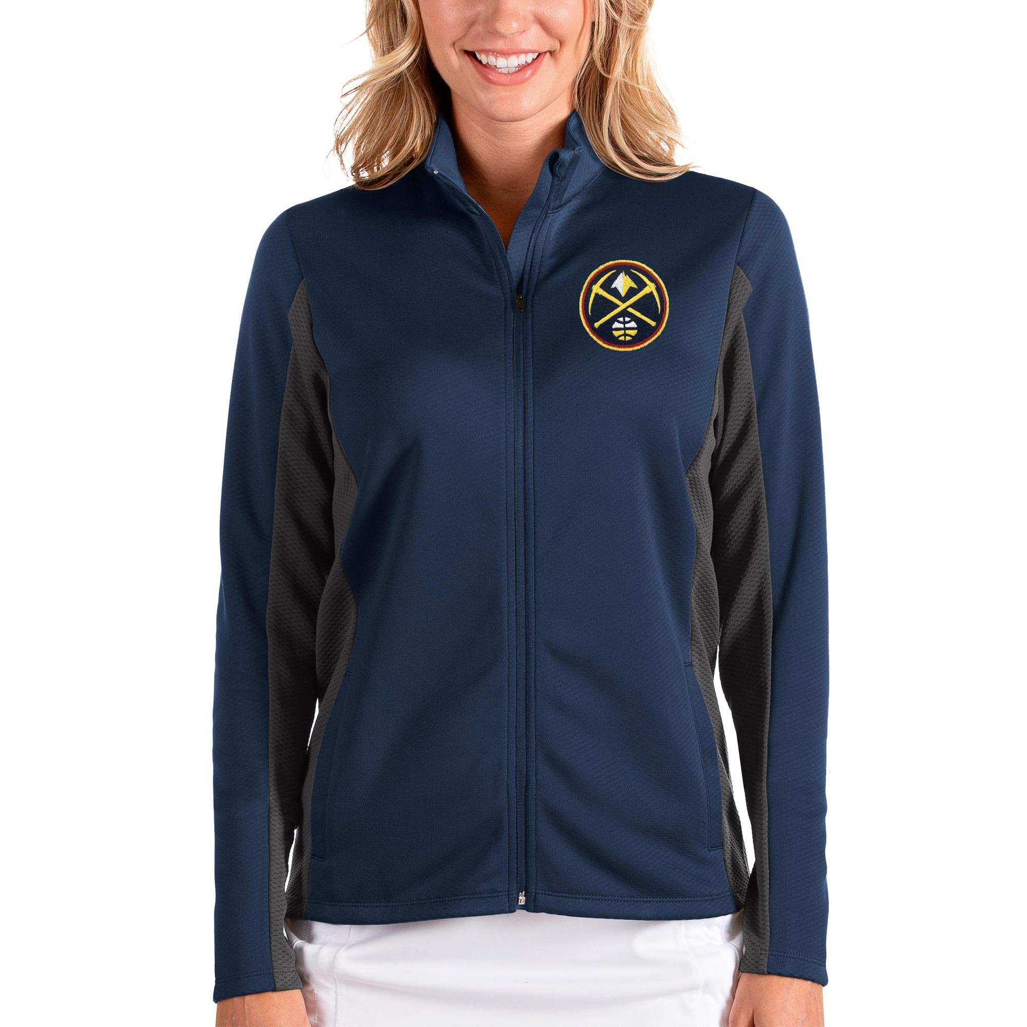 Denver Nuggets Antigua Women's Passage Full-Zip Jacket - Navy/Charcoal