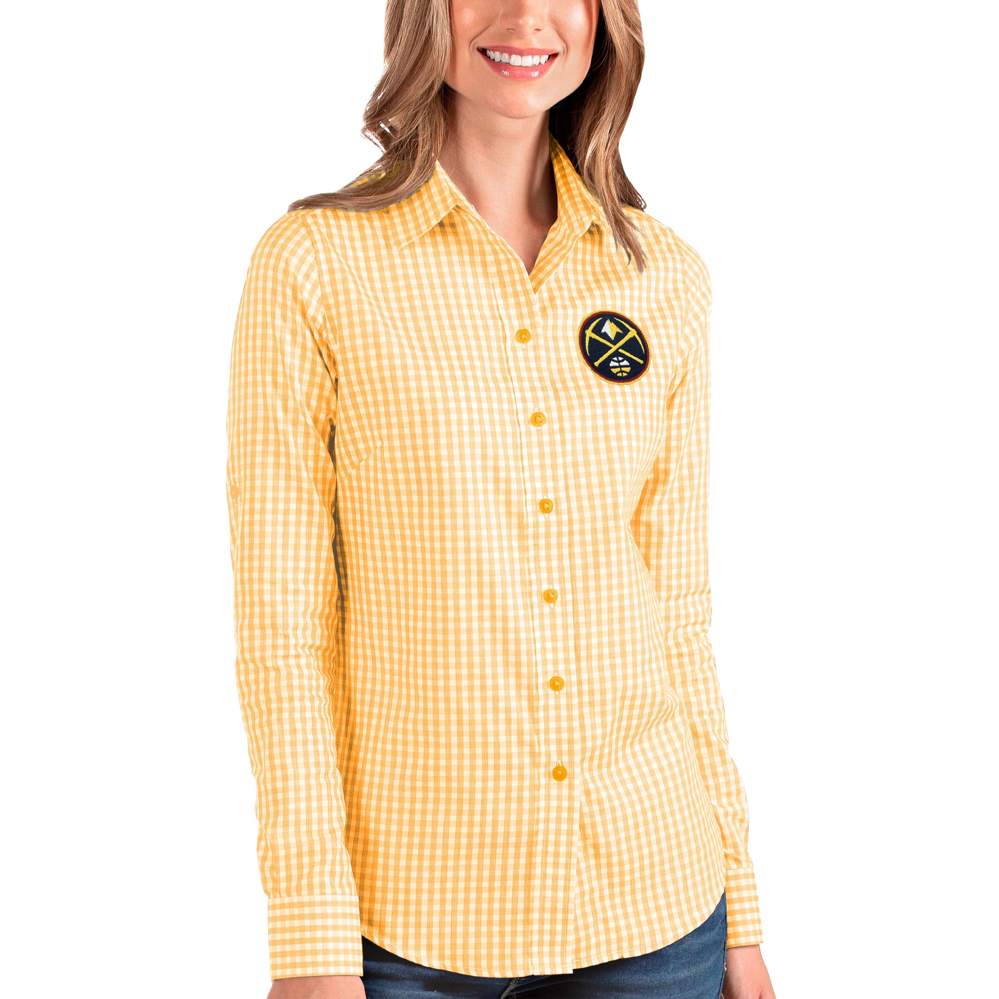 Denver Nuggets Antigua Women's Structure Button-Up Long Sleeve Shirt - Gold/White