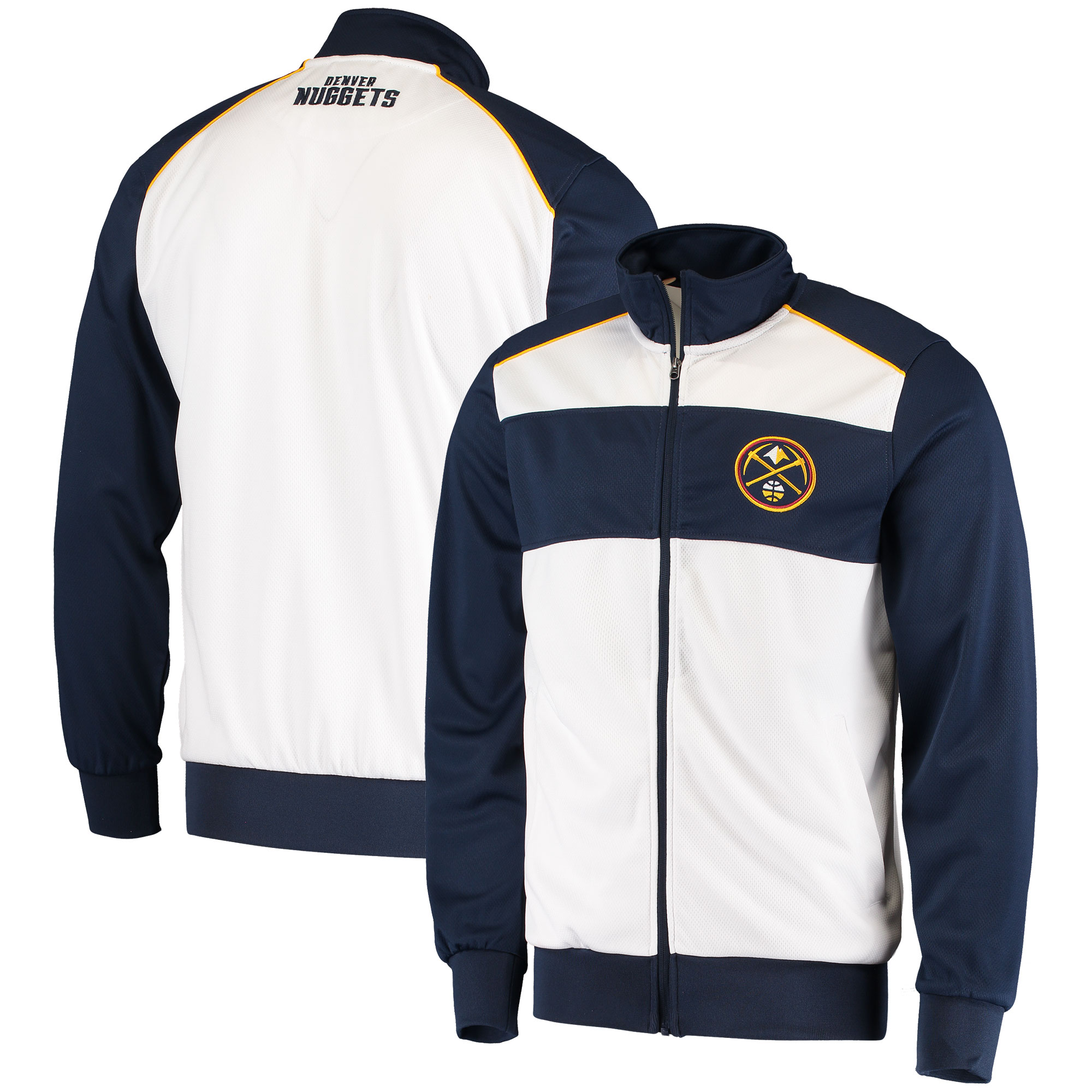 Denver Nuggets G-III Sports by Carl Banks Layup Full-Zip Track Jacket - White/Navy