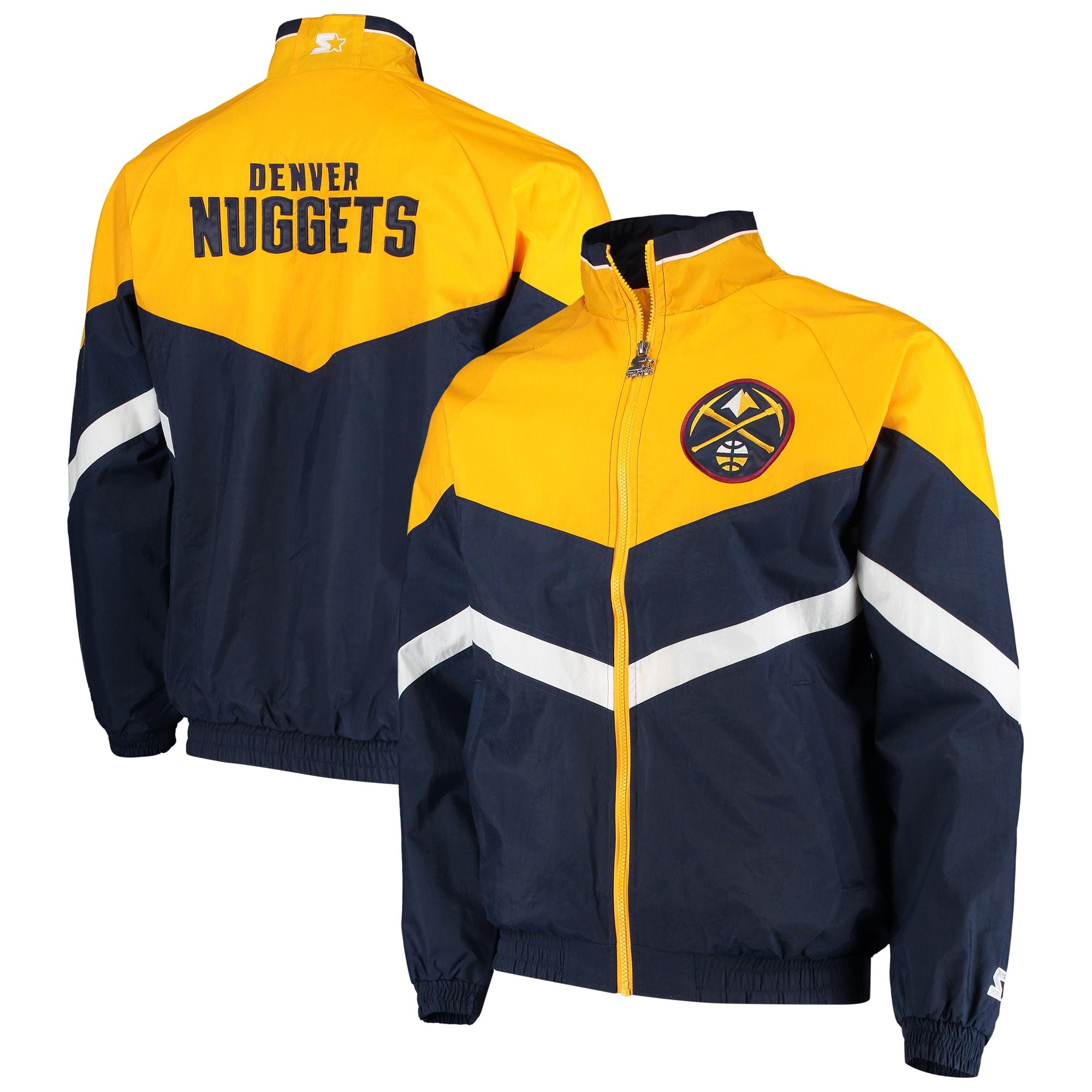 Denver Nuggets Starter Bank Shot Oxford Full-Zip Jacket - Navy/Gold