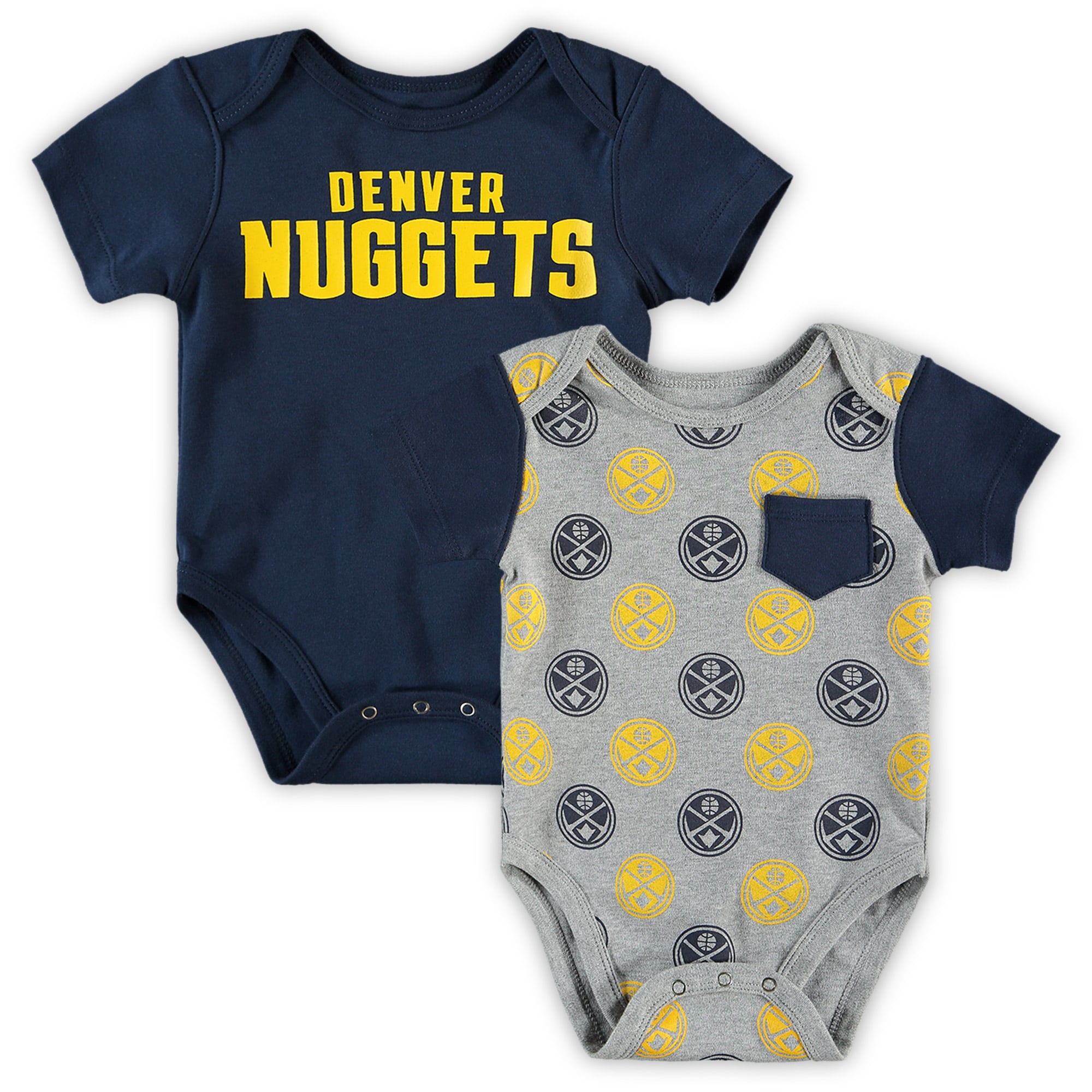 Denver Nuggets Infant Little Baller 2-Pack Bodysuit Set - Navy/Heathered Gray
