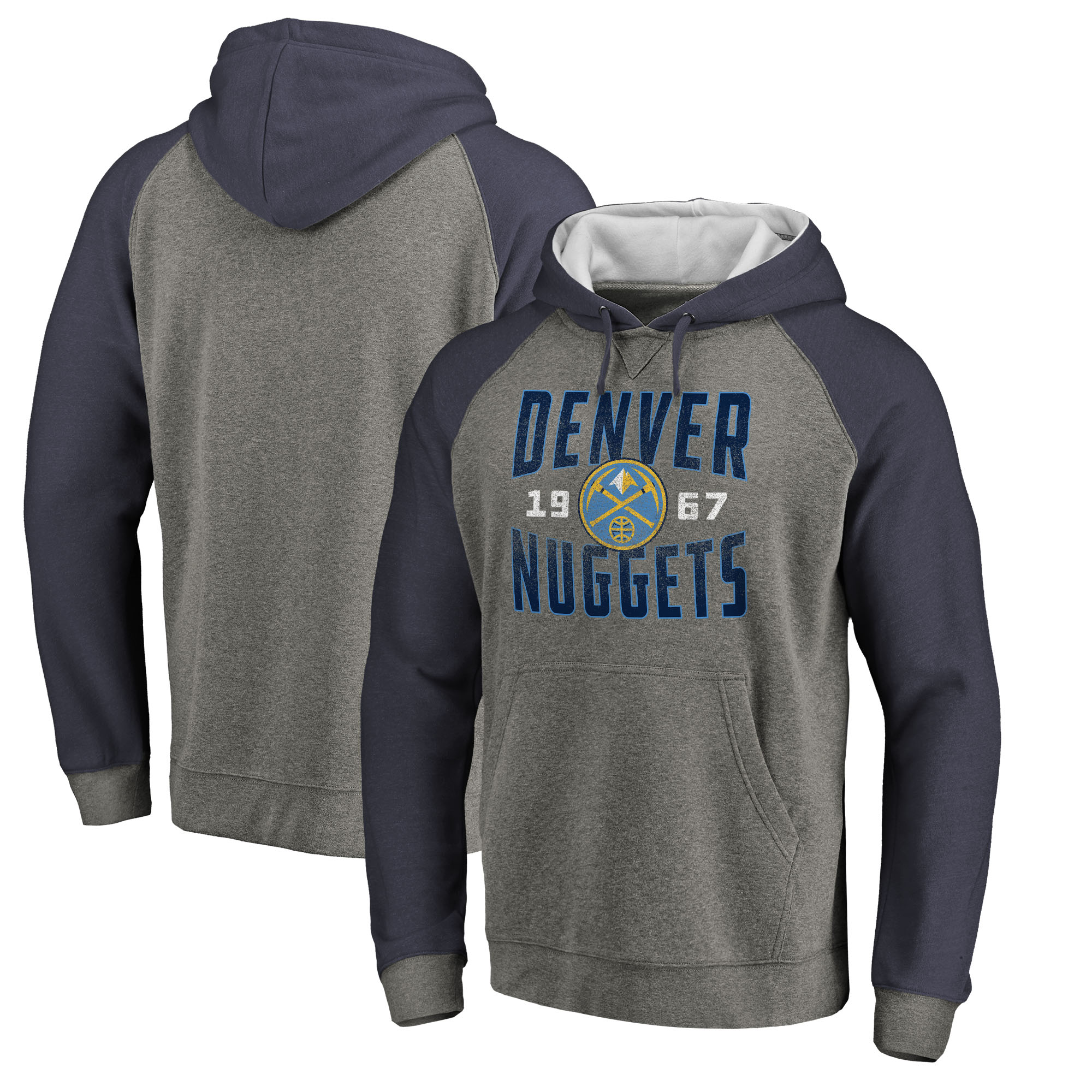 Denver Nuggets Fanatics Branded Ash Antique Stack Tri-Blend Raglan Pullover Hoodie