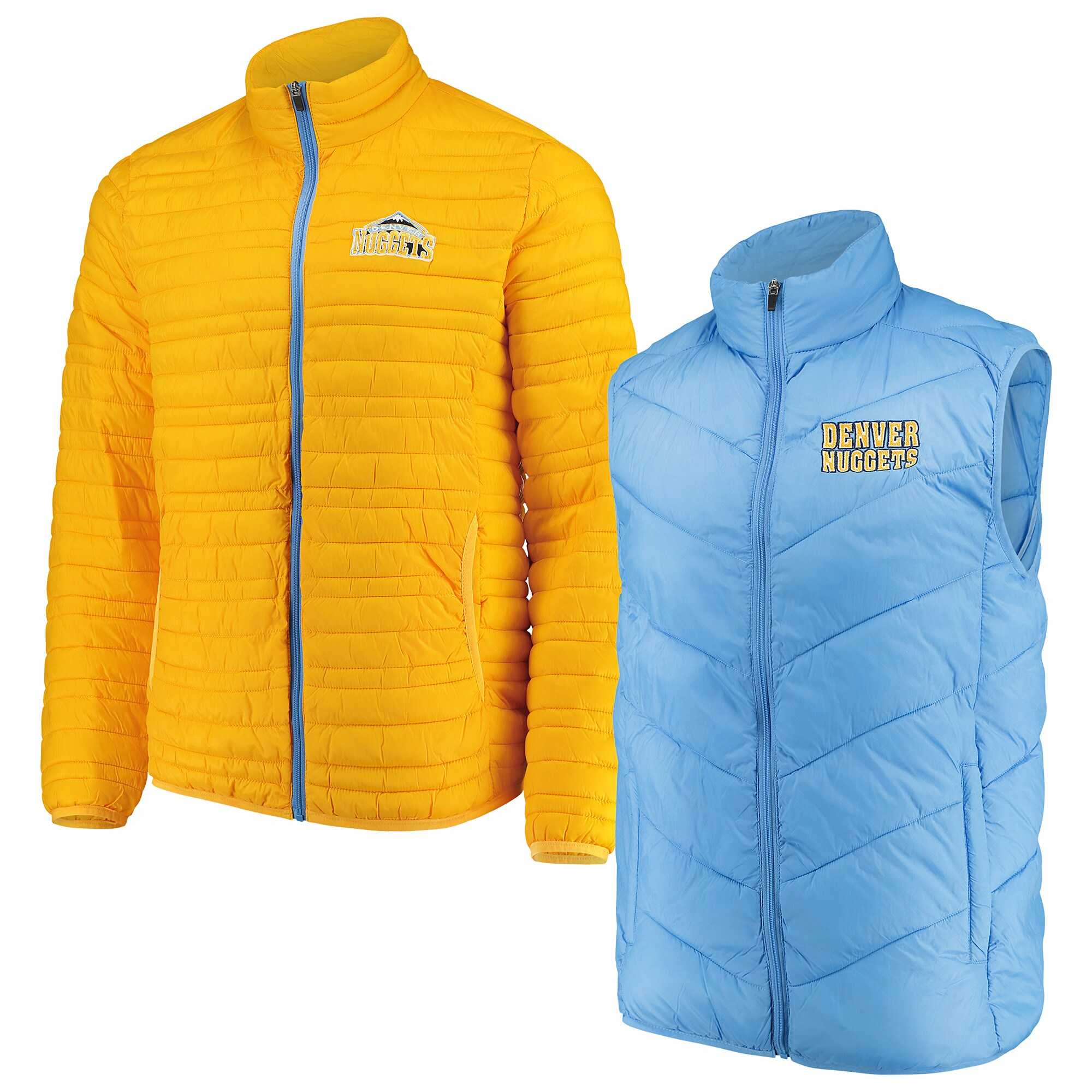 Denver Nuggets G-III Sports by Carl Banks Three & Out 3-in-1 System Full-Zip Vest & Jacket Set - Light Blue/Gold