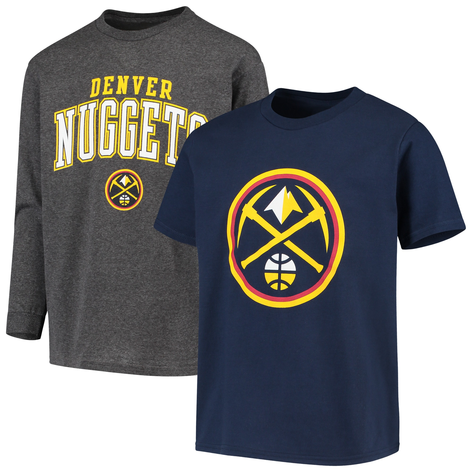 Denver Nuggets Fanatics Branded Youth Square T-Shirt Combo Set - Navy/Gray