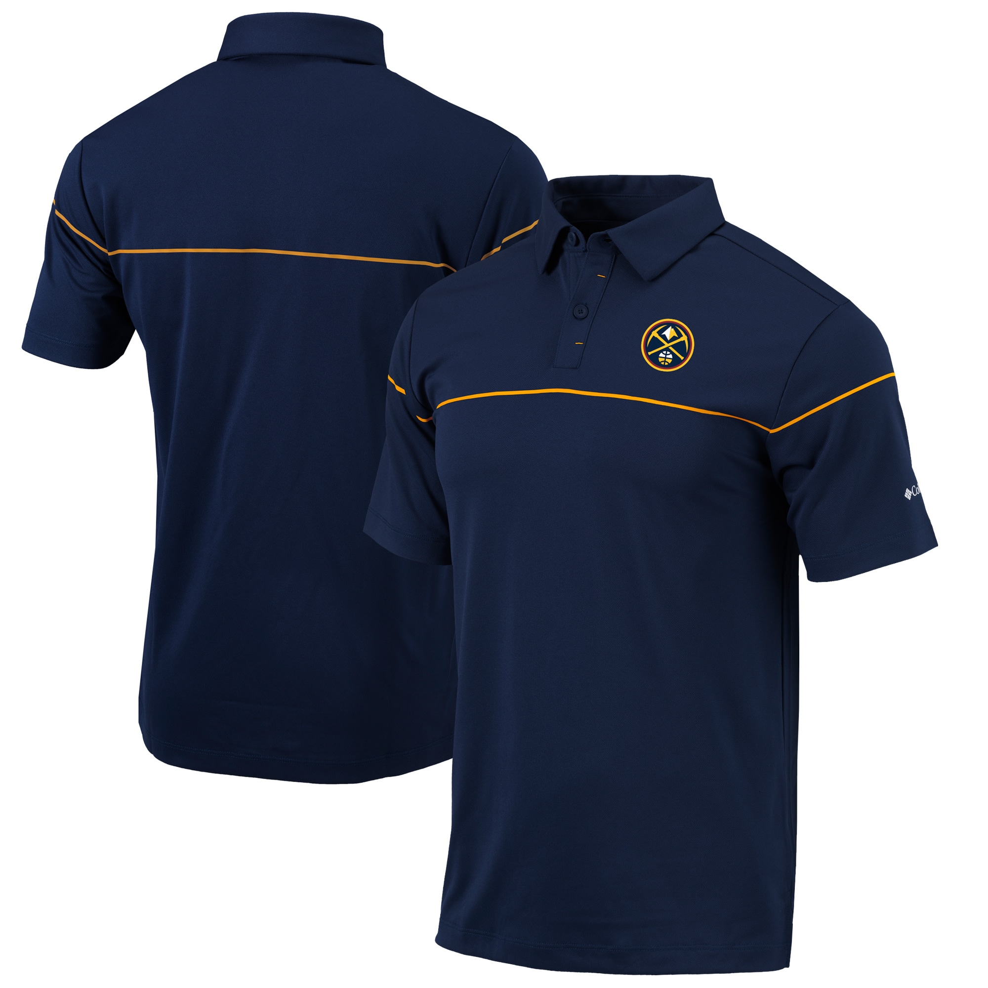 Denver Nuggets Columbia Omni-Wick Breaker Polo - Navy/Gold