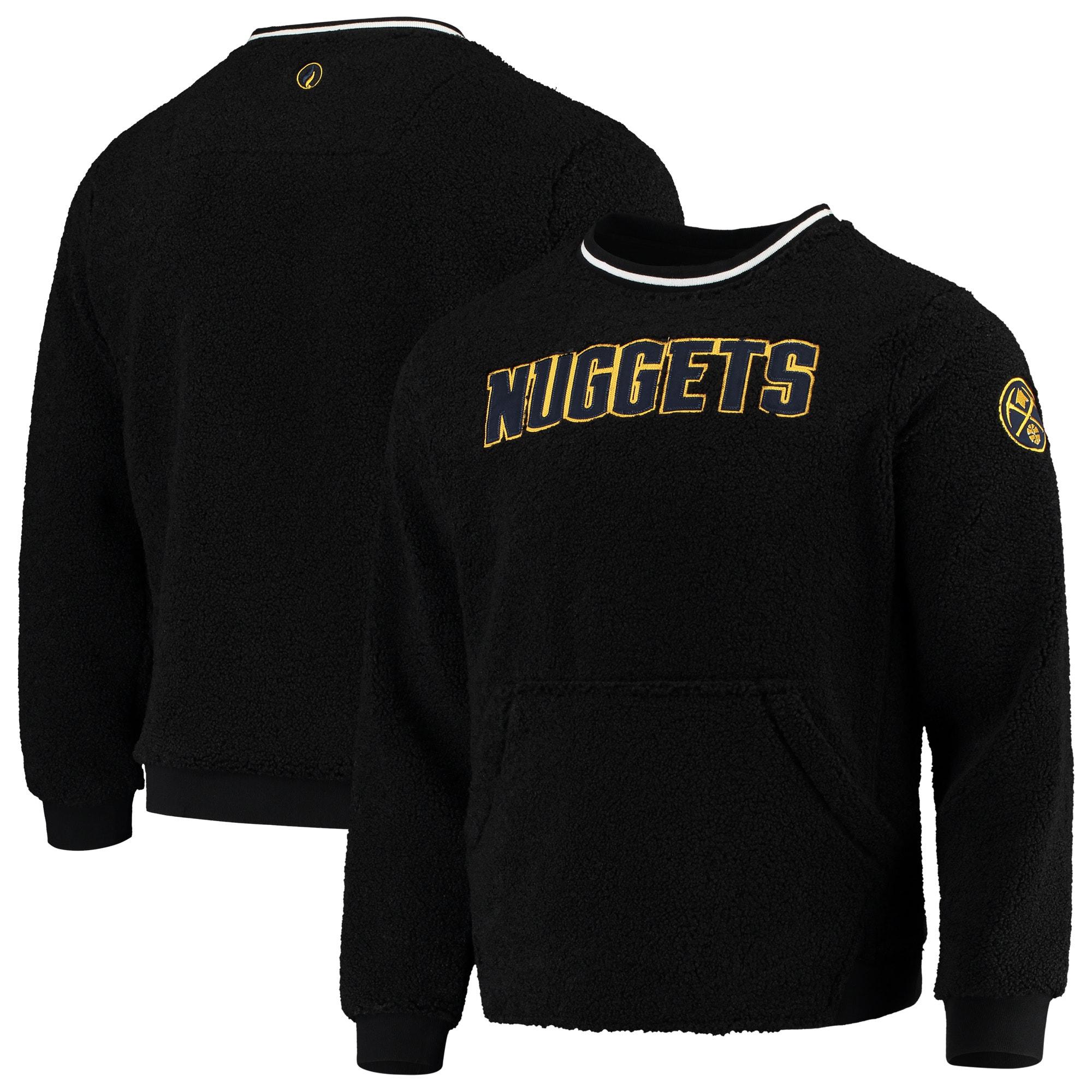 Denver Nuggets FISLL Moto Sherpa Pullover Sweatshirt - Black