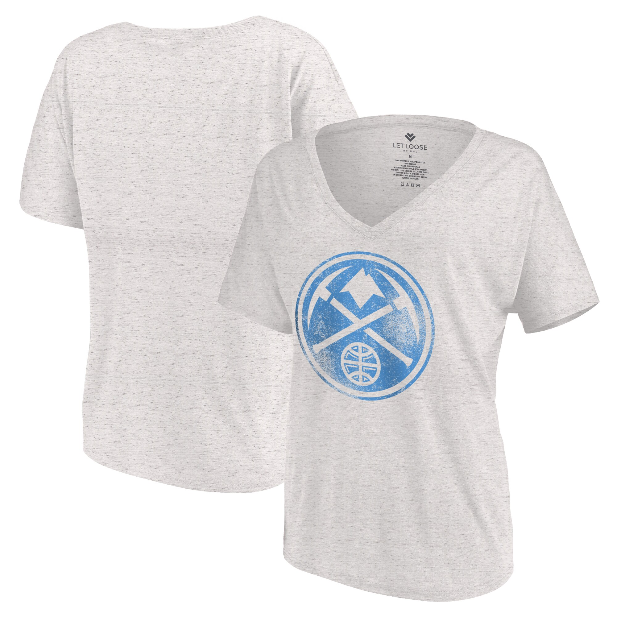 Denver Nuggets Let Loose by RNL Women's Distressed Primary Logo V-Neck T-Shirt - White Marble