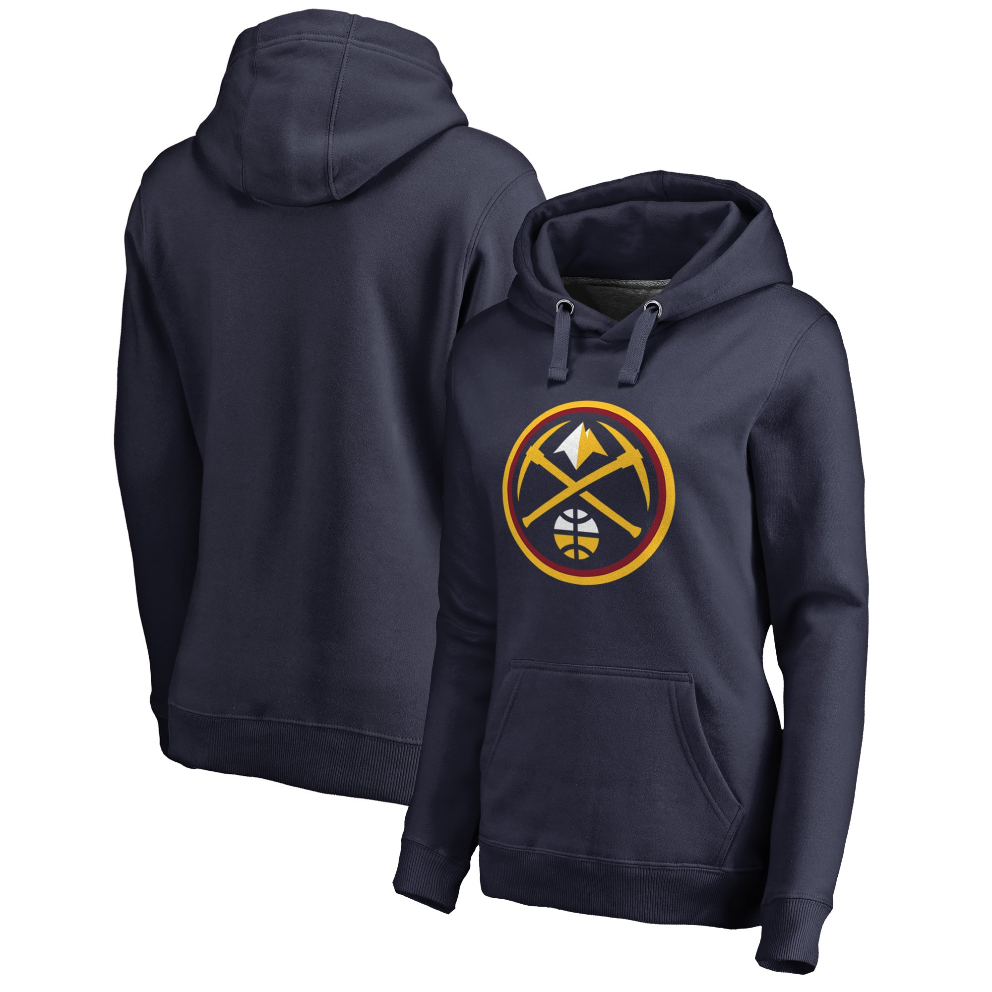 Denver Nuggets Fanatics Branded Women's Plus Size Primary Logo Pullover Hoodie - Navy